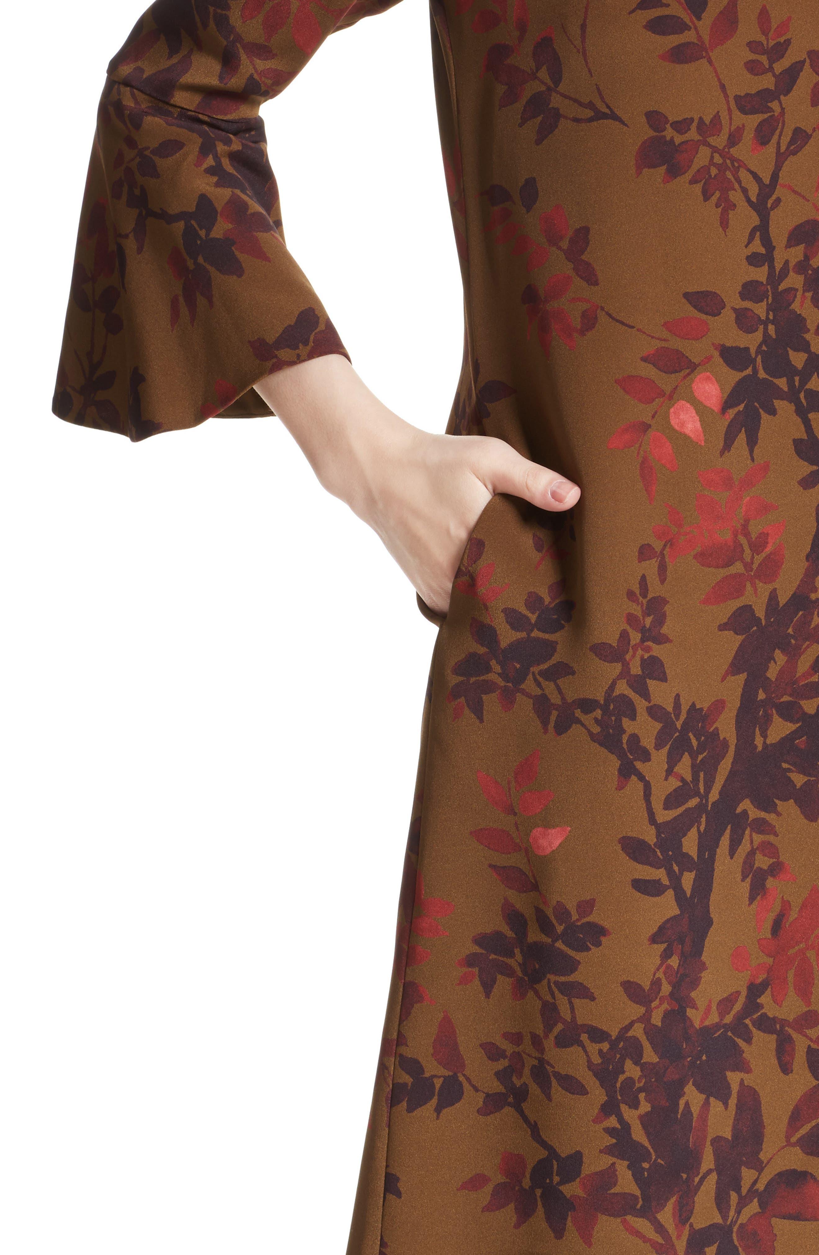 Sidra Floral Print Silk Dress,                             Alternate thumbnail 4, color,                             242
