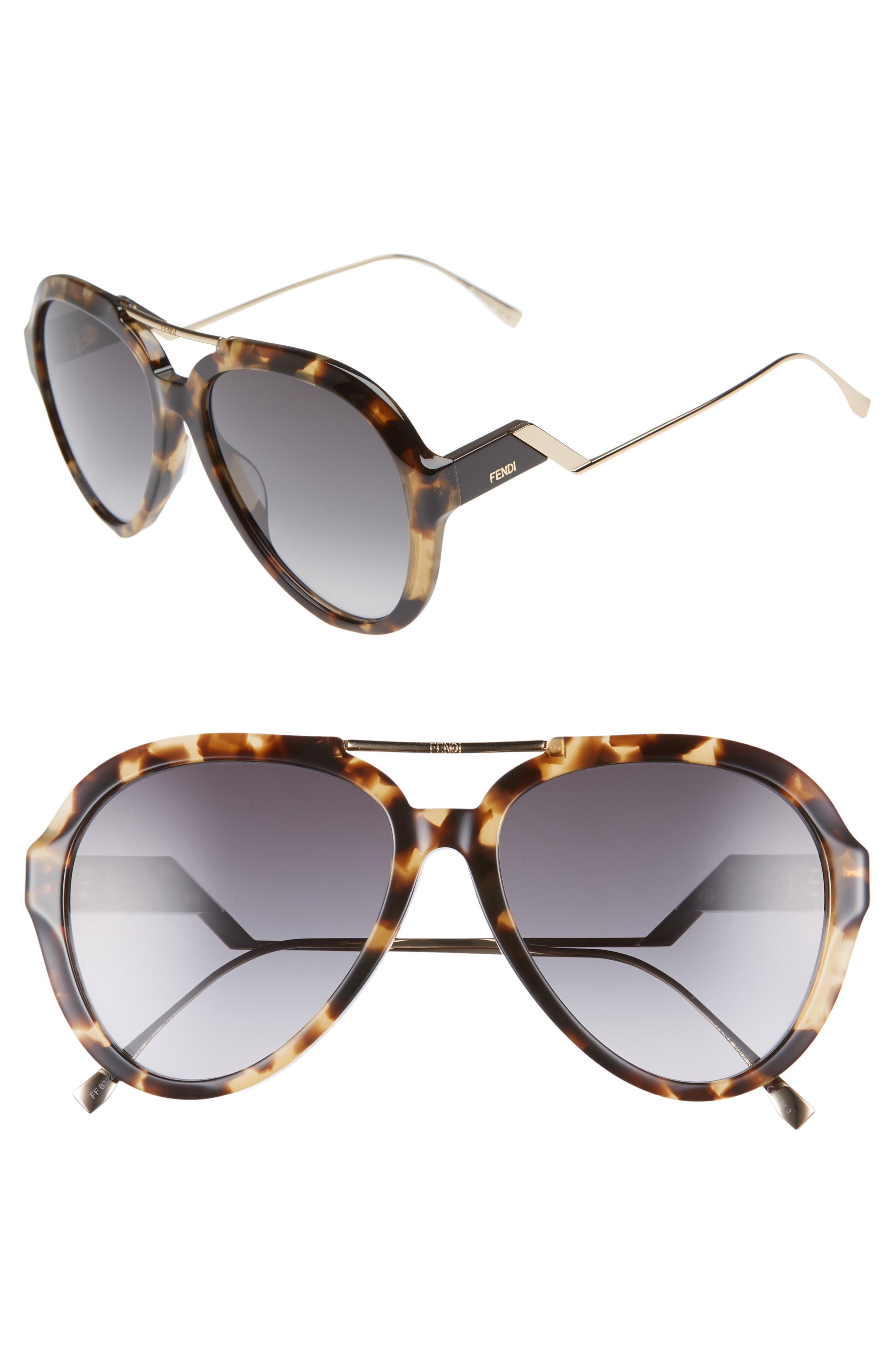 58Mm Aviator Sunglasses - Dark Havana