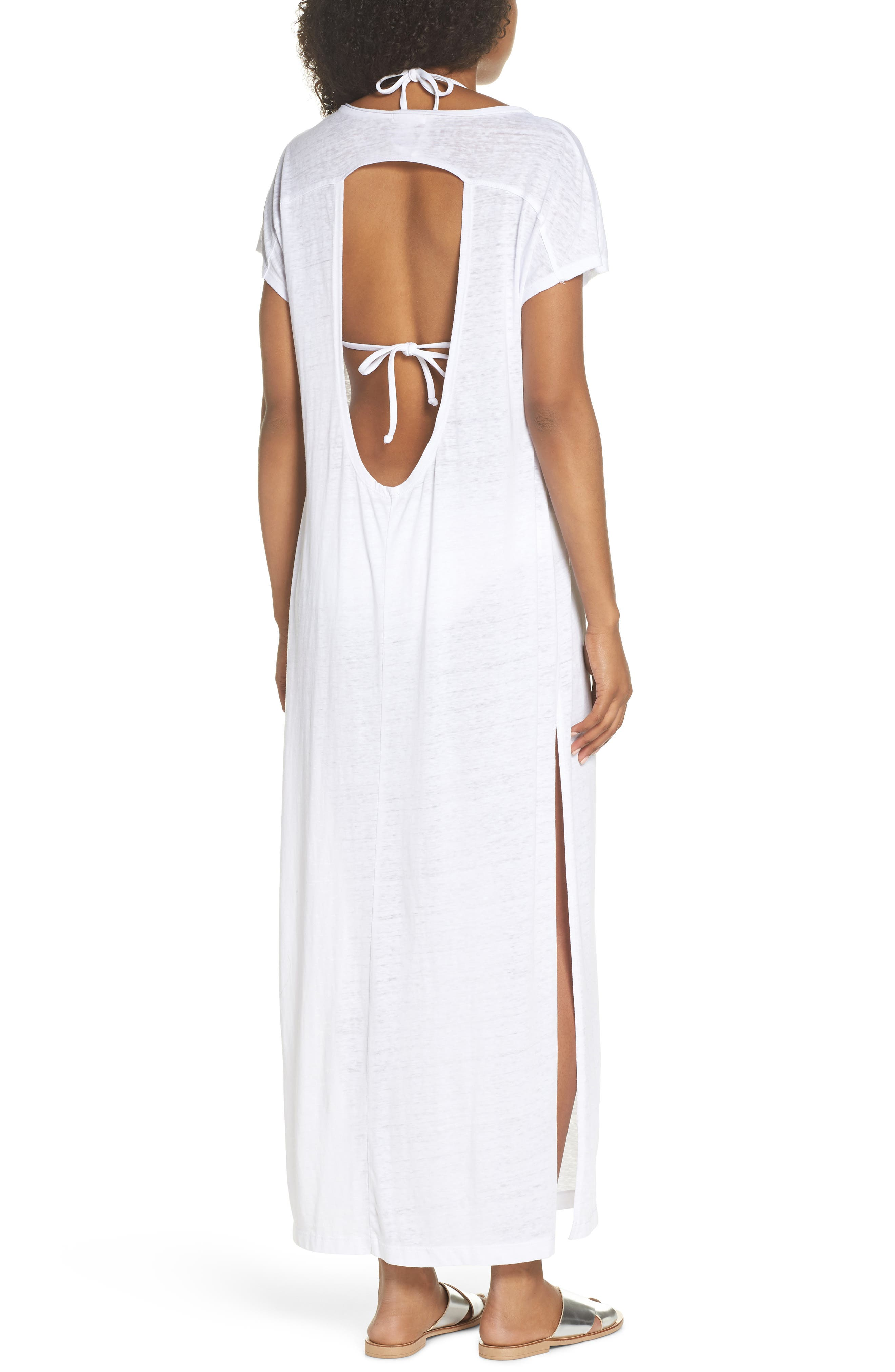 Henley Cover-Up Maxi Dress,                             Alternate thumbnail 2, color,                             100