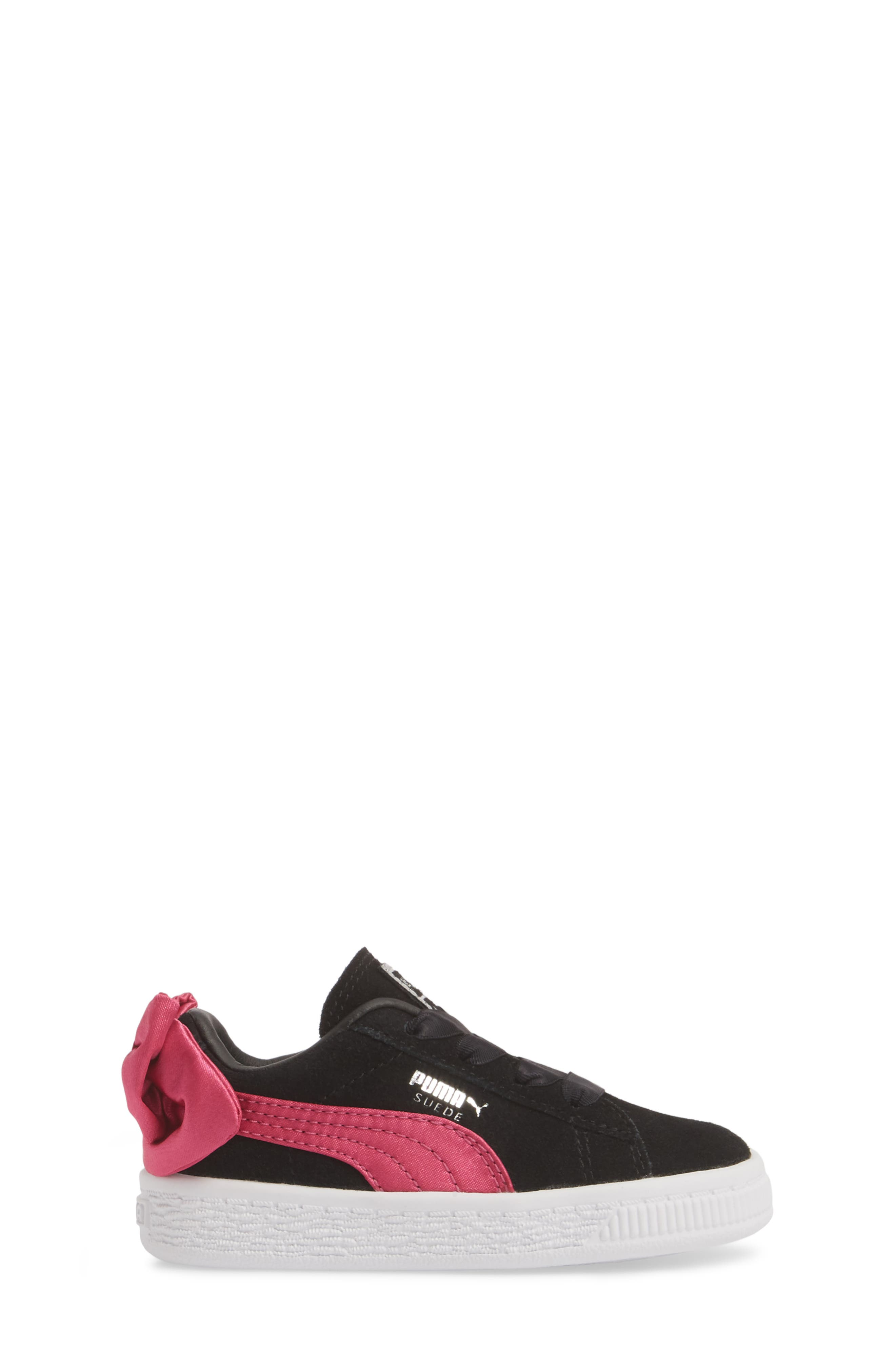 Bow Sneaker,                             Alternate thumbnail 3, color,                             BLACK/ BEETROOT PURPLE