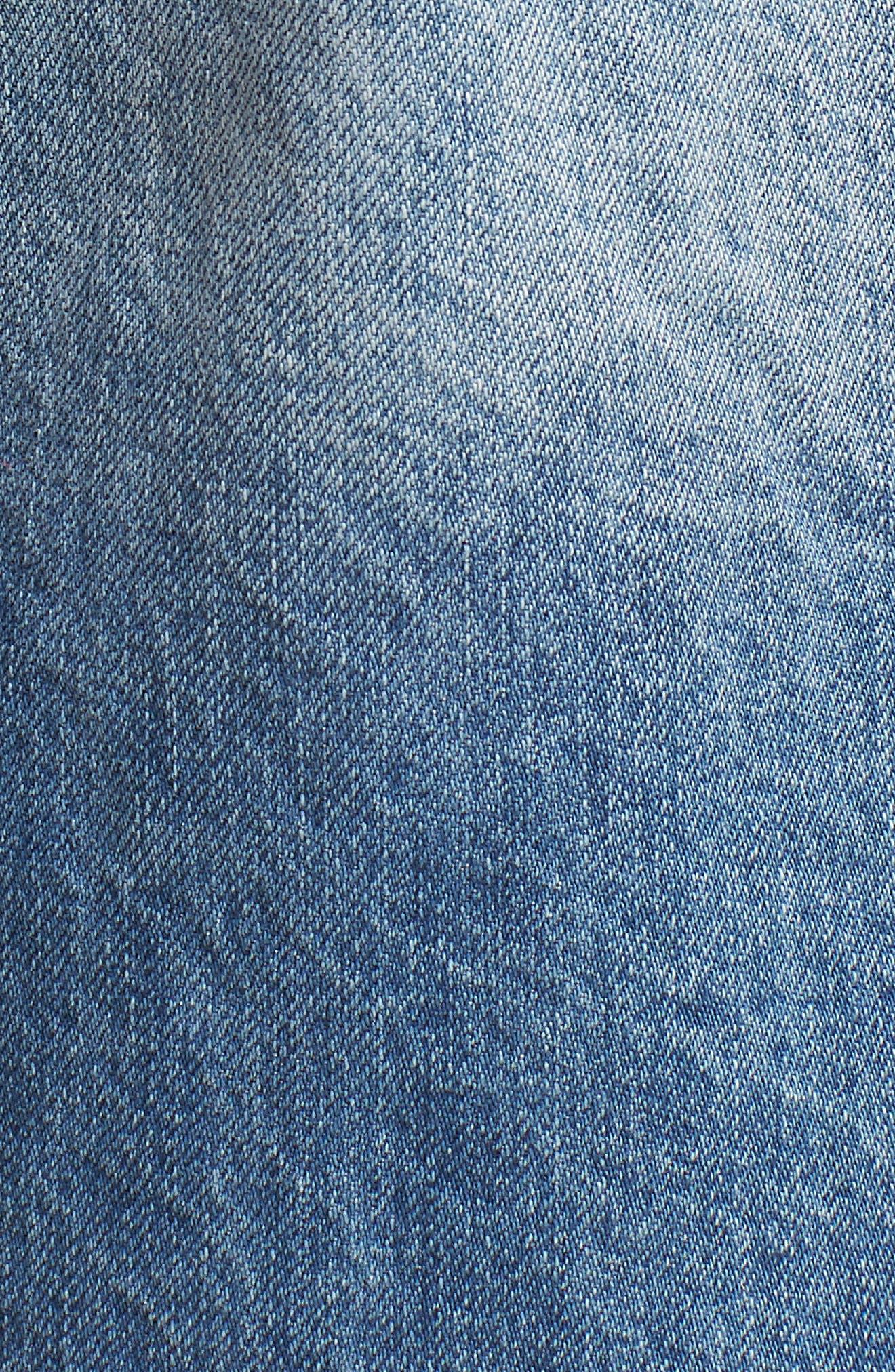 Shredded Denim Bermuda Shorts,                             Alternate thumbnail 6, color,