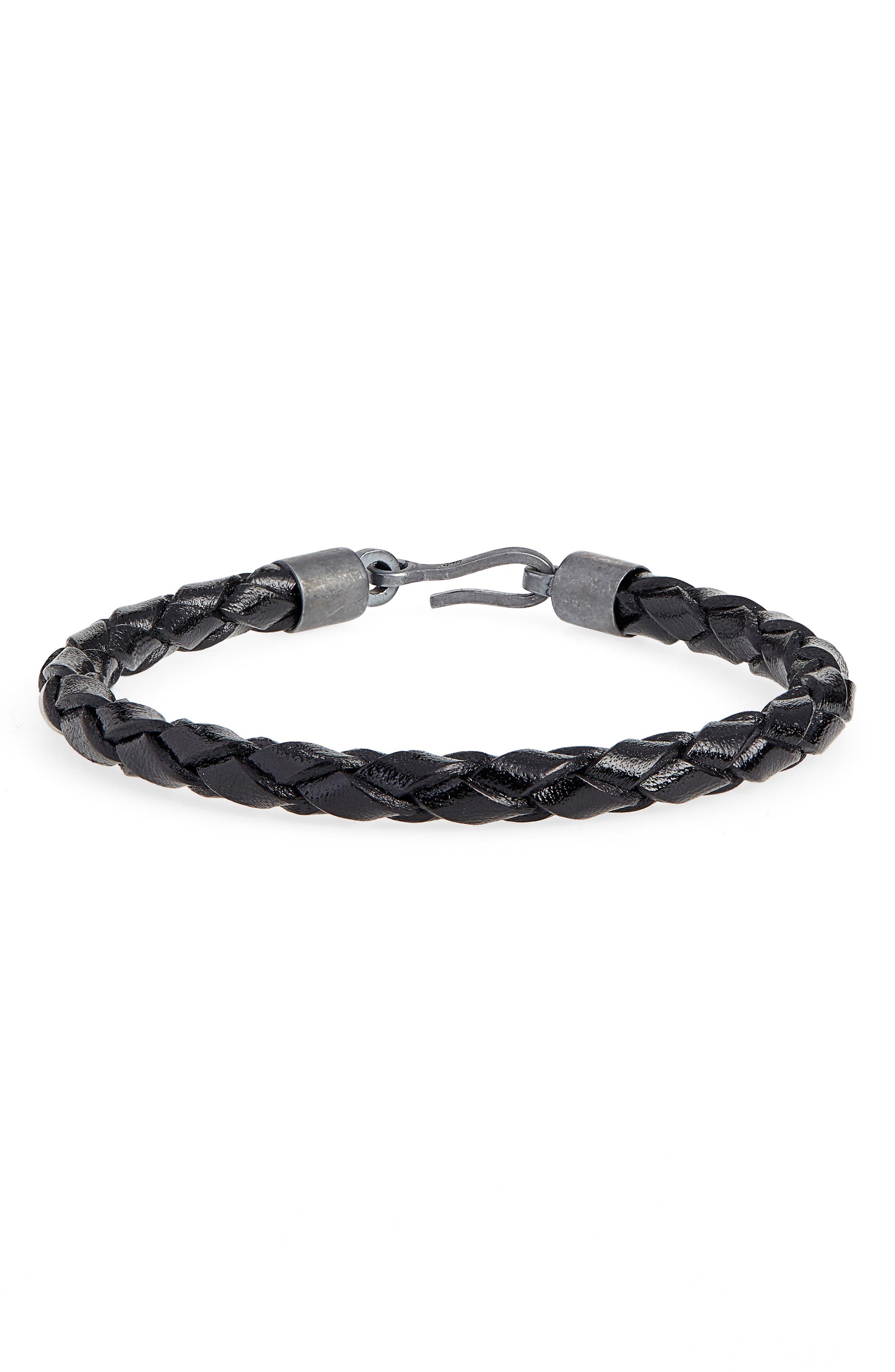 CAPUTO & CO. Braided Leather Bracelet in Black