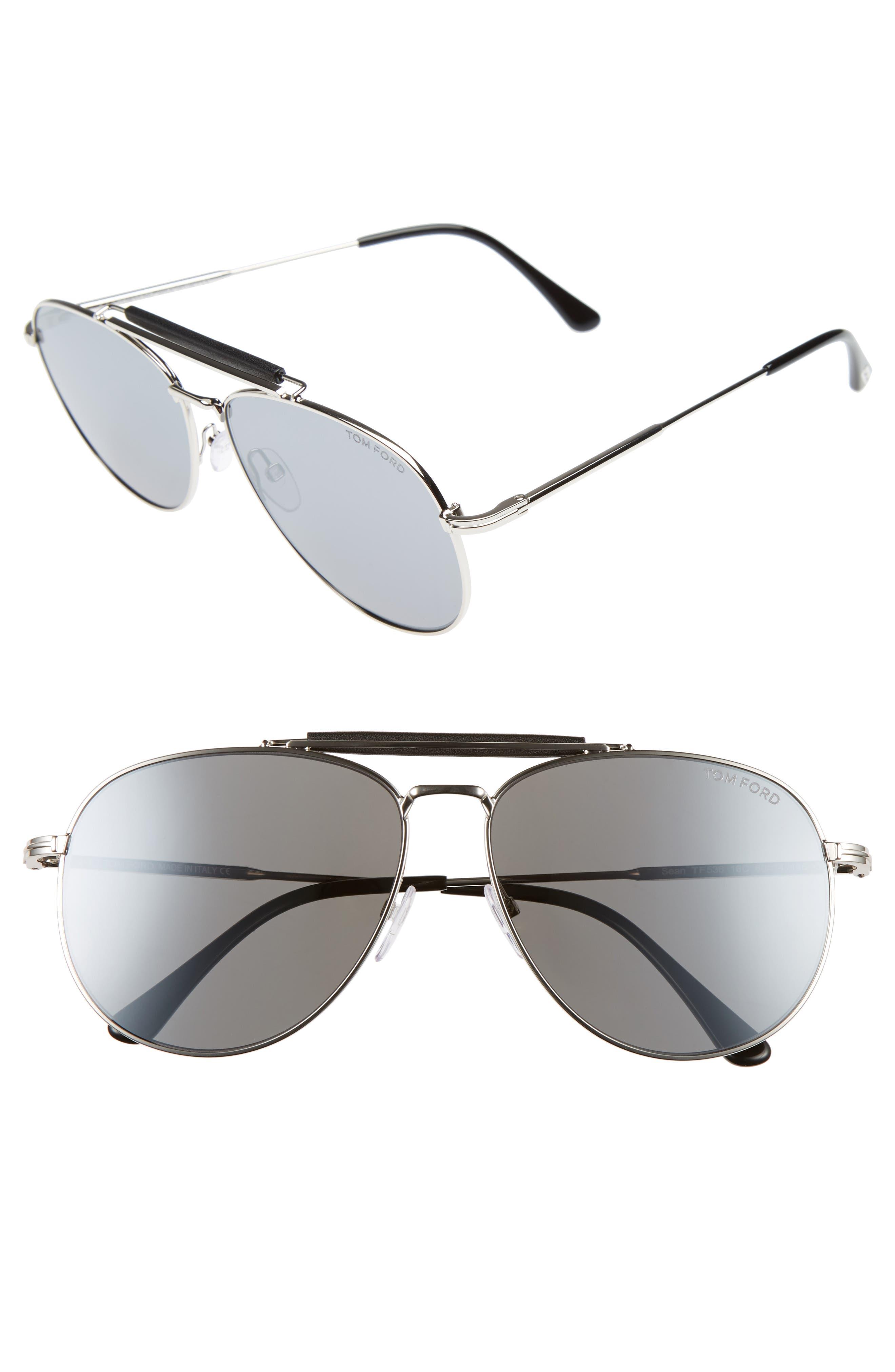 Sean 61mm Aviator Sunglasses,                         Main,                         color, SHINY PALLADIUM / SMOKE MIRROR
