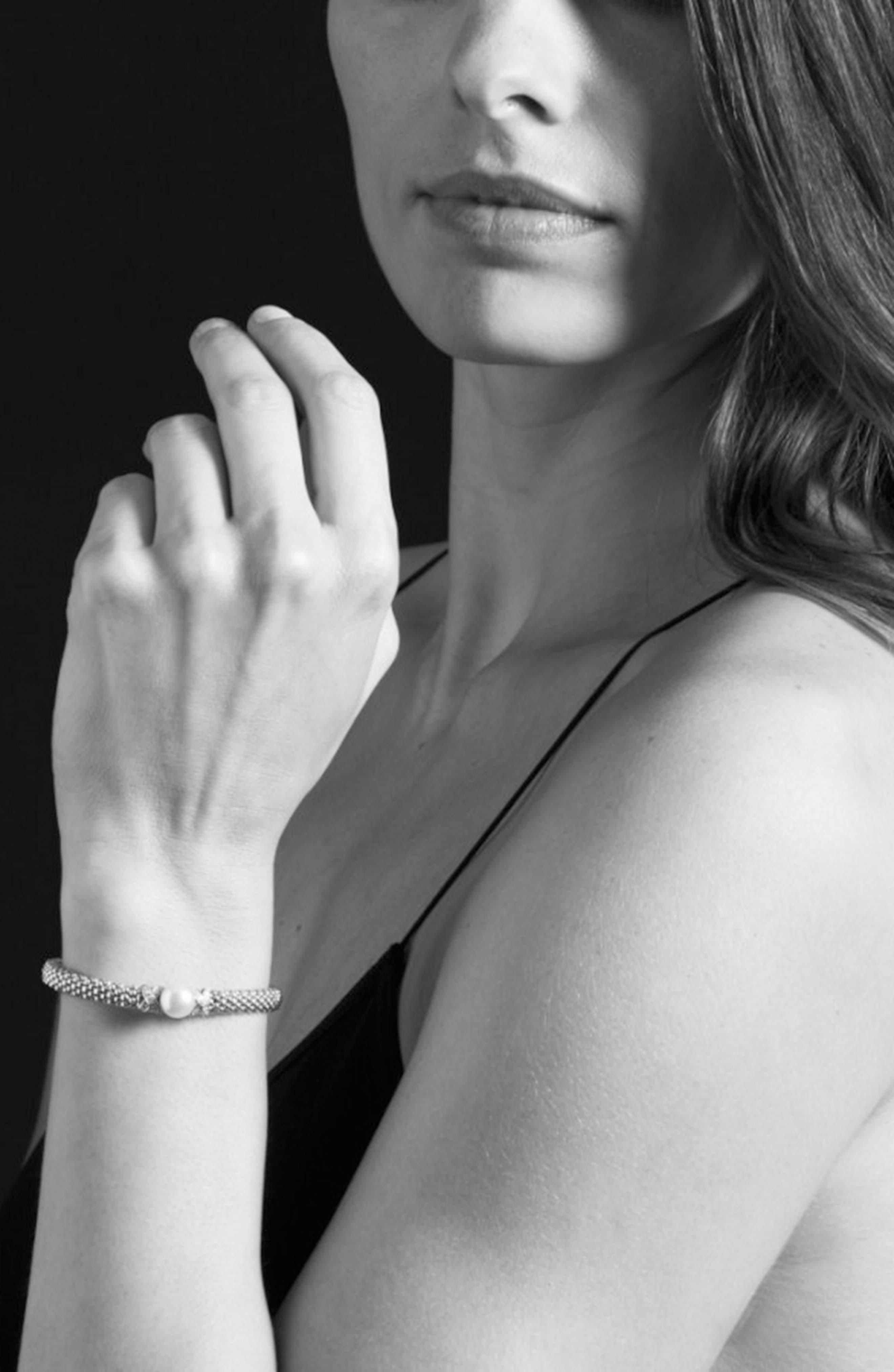'Luna' Pearl Rope Bracelet,                             Alternate thumbnail 2, color,                             SILVER/ PEARL