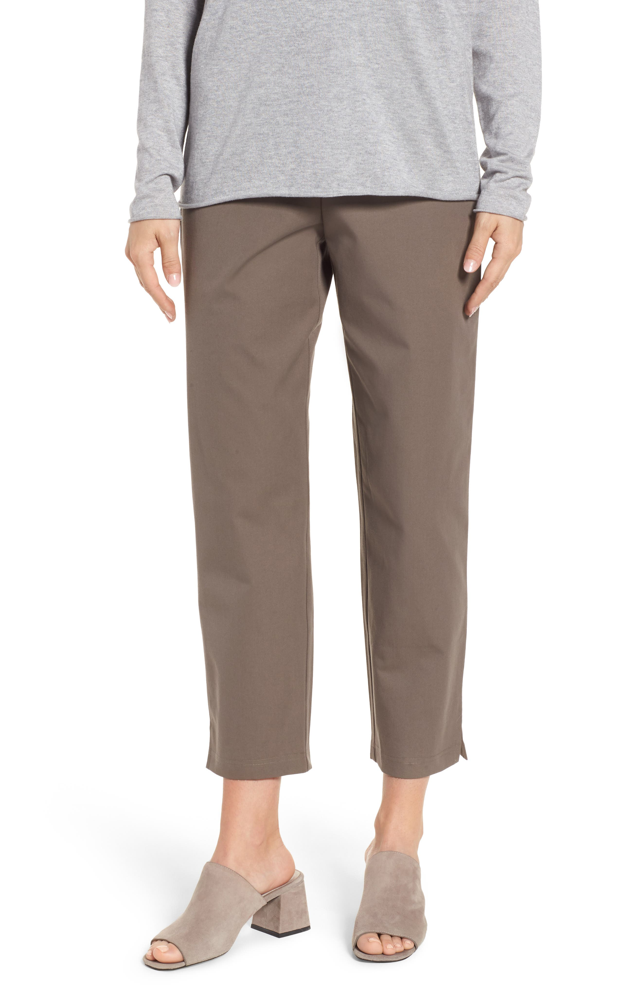 Organic Stretch Cotton Twill Ankle Pants,                             Main thumbnail 2, color,