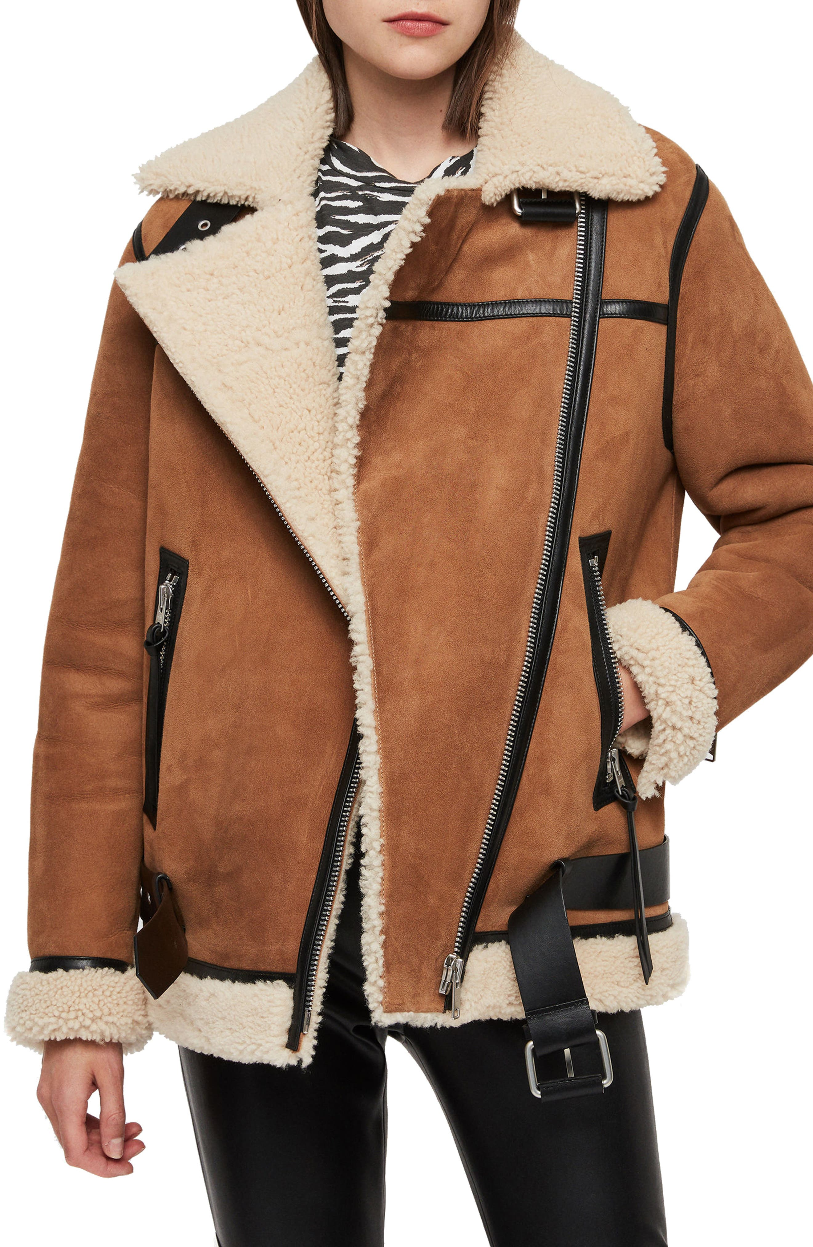 Allsaints Rei Genuine Shearling Coat, Brown