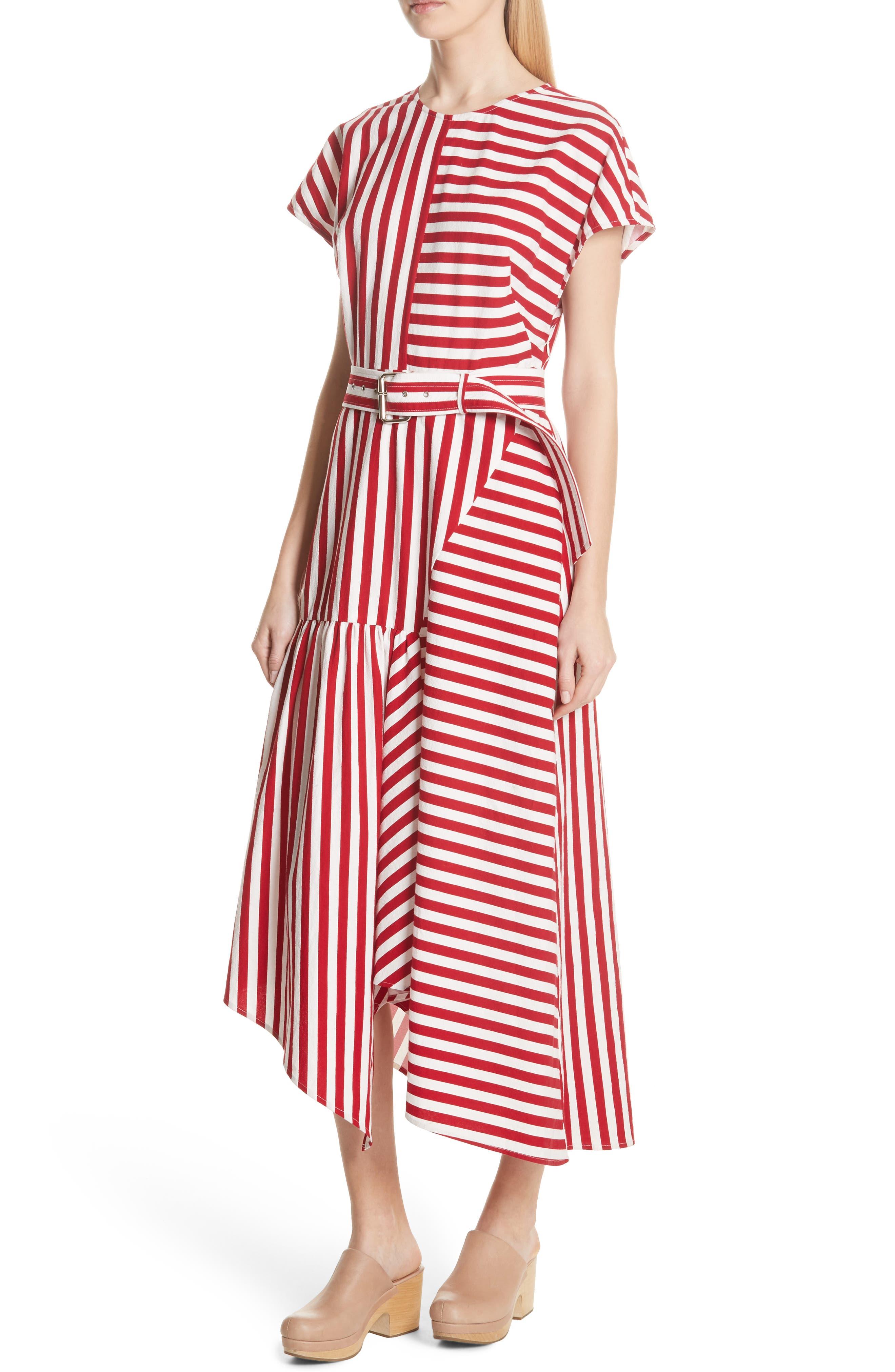 Steady Asymmetrical Dress,                             Alternate thumbnail 4, color,                             RED