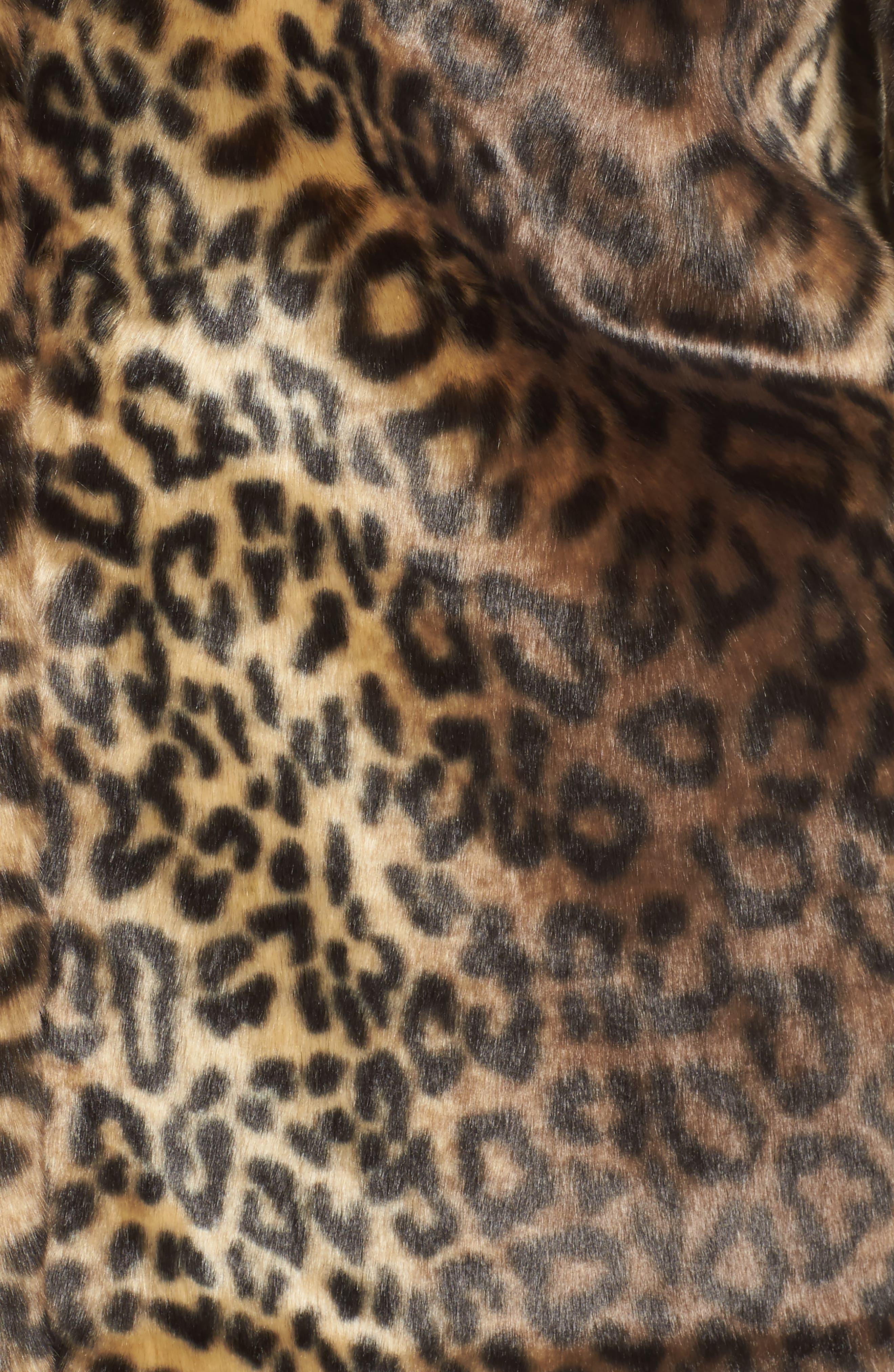 Reversible Cheetah Print Faux Fur Jacket,                             Alternate thumbnail 6, color,                             254