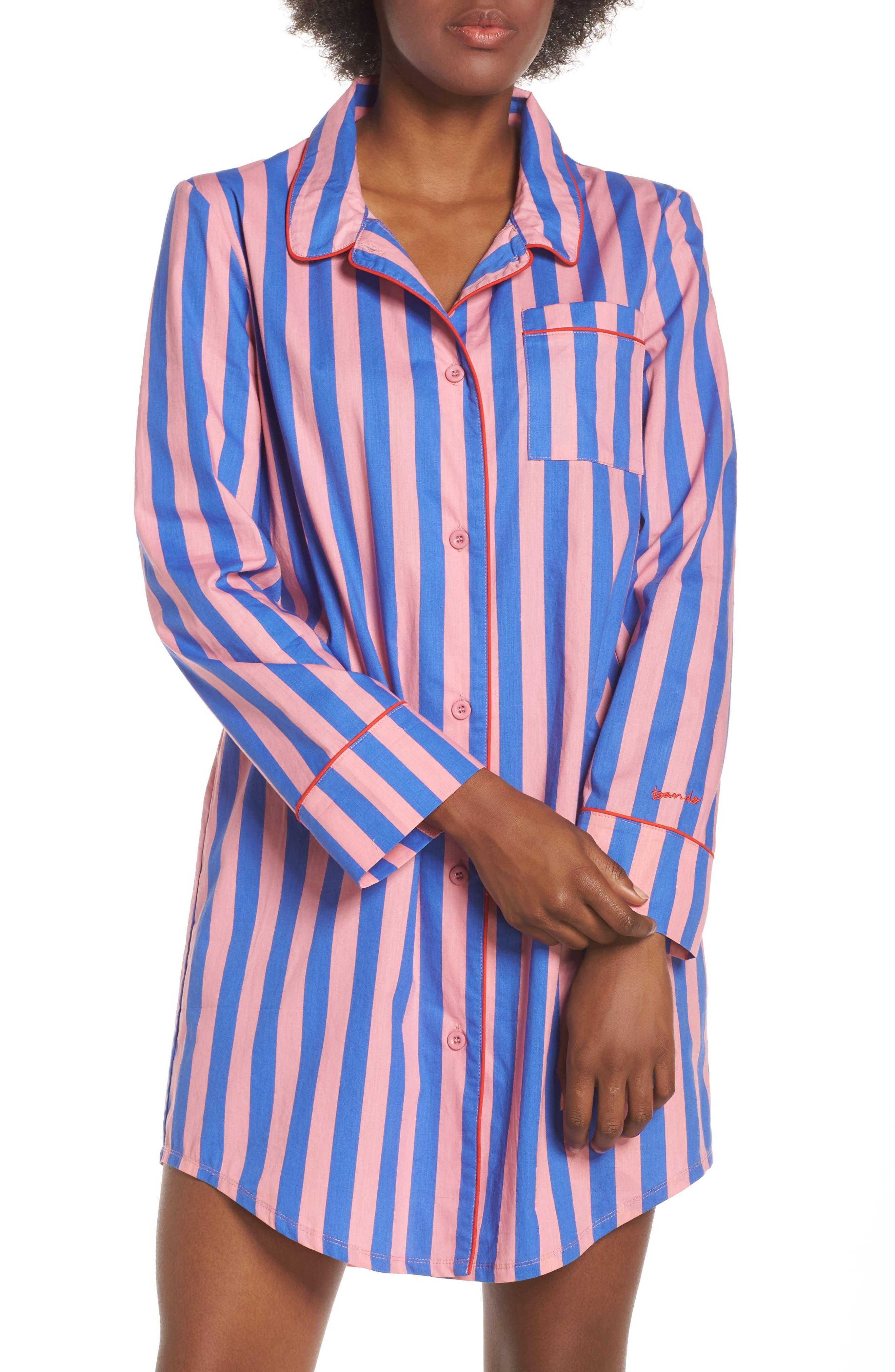 Ban. do Stripe Sleep Shirt, Pink