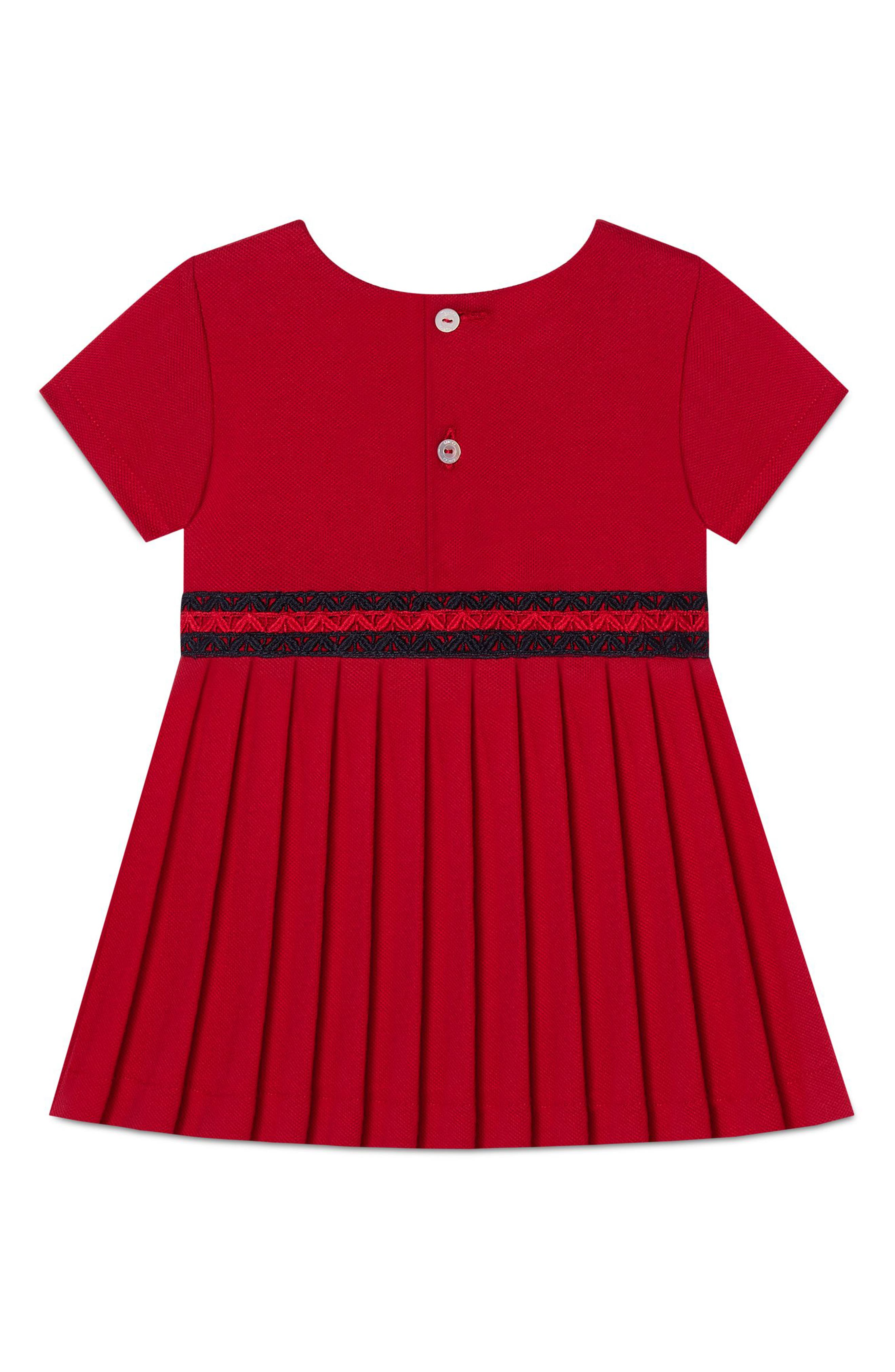 Stretch-Cotton Dress with Pleated Skirt,                             Alternate thumbnail 2, color,                             604