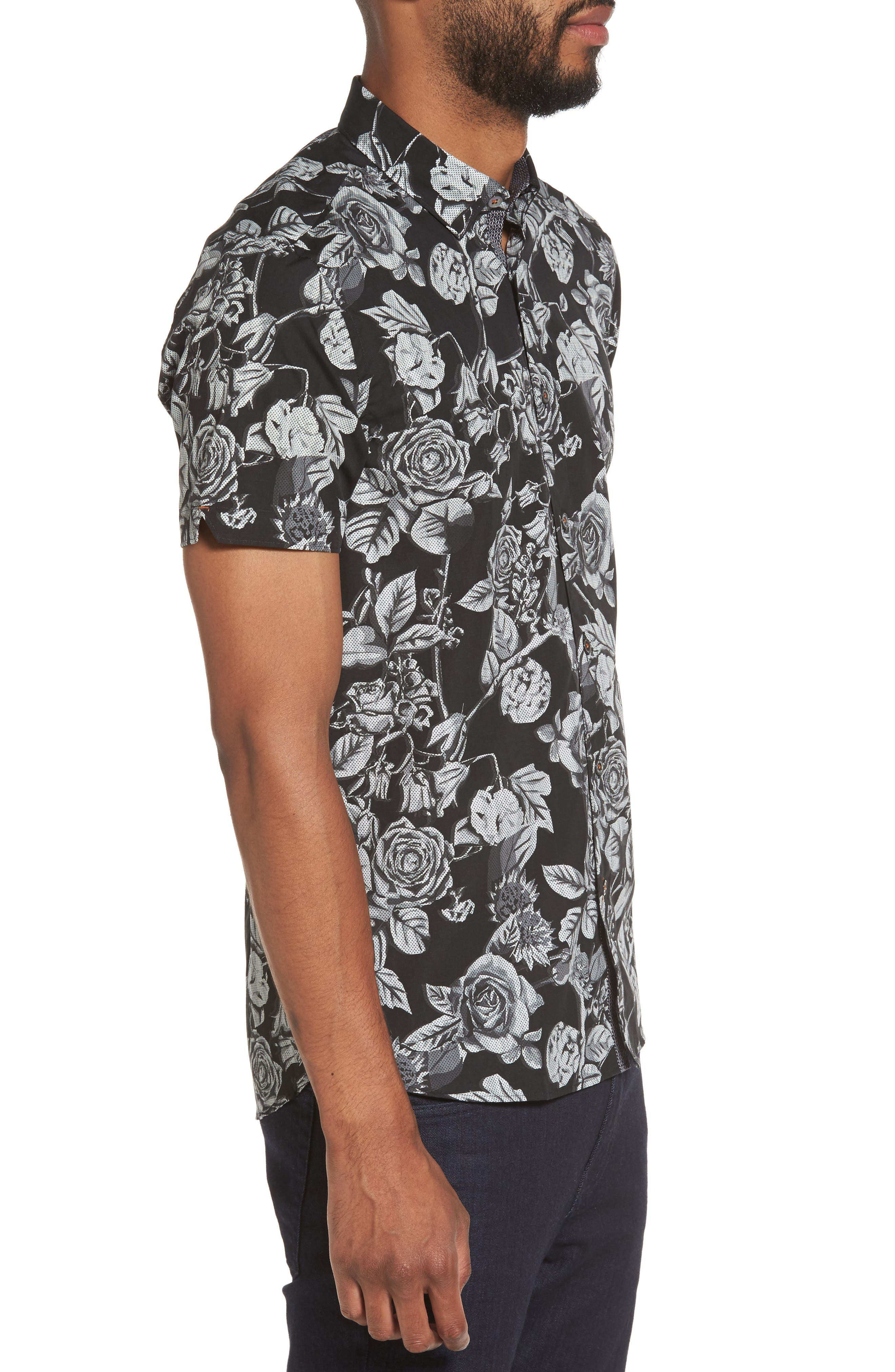 Taxee Floral Print Woven Shirt,                             Alternate thumbnail 3, color,                             001