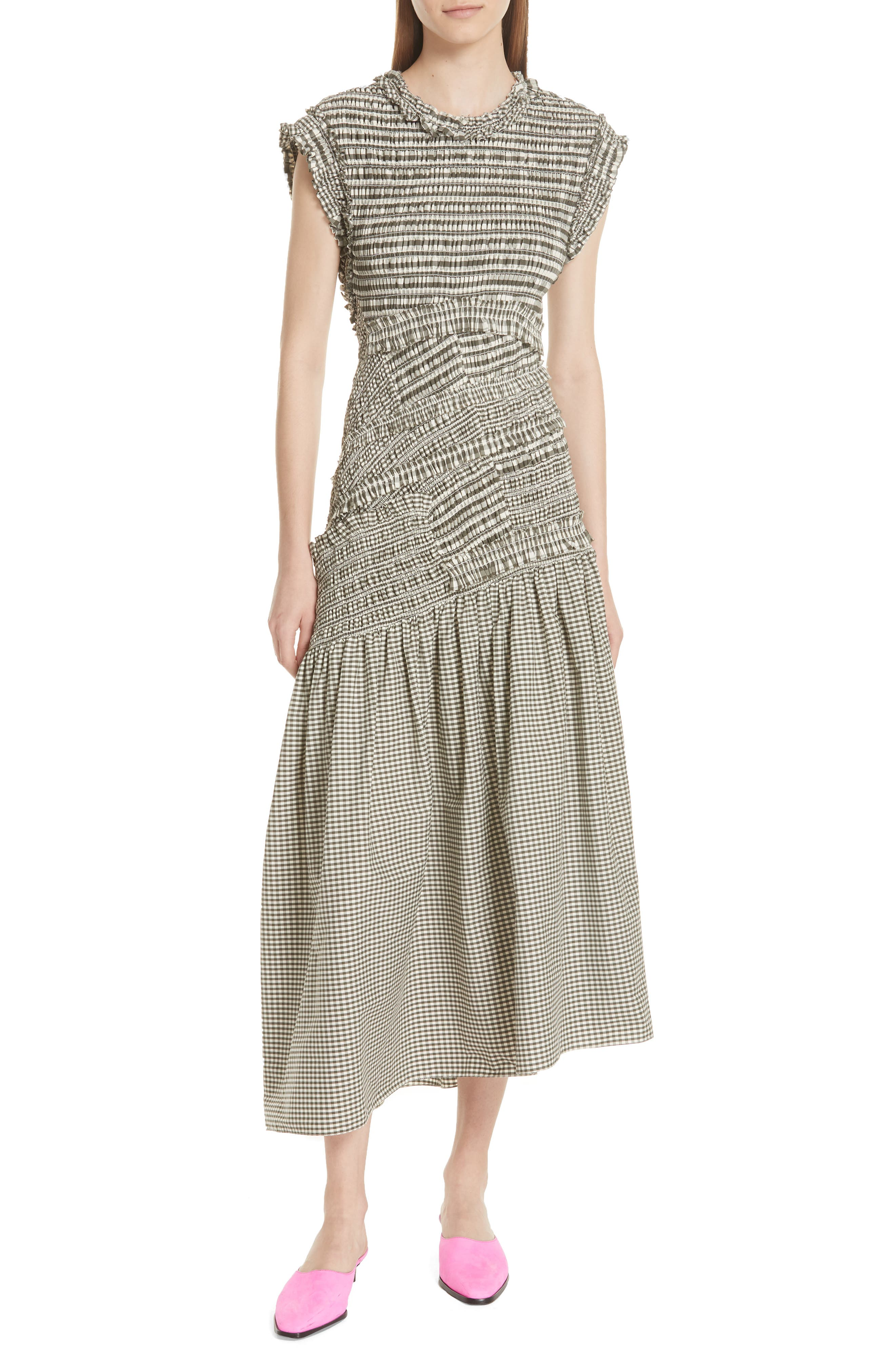 Gathered Gingham Drop Waist Dress,                             Main thumbnail 1, color,                             033
