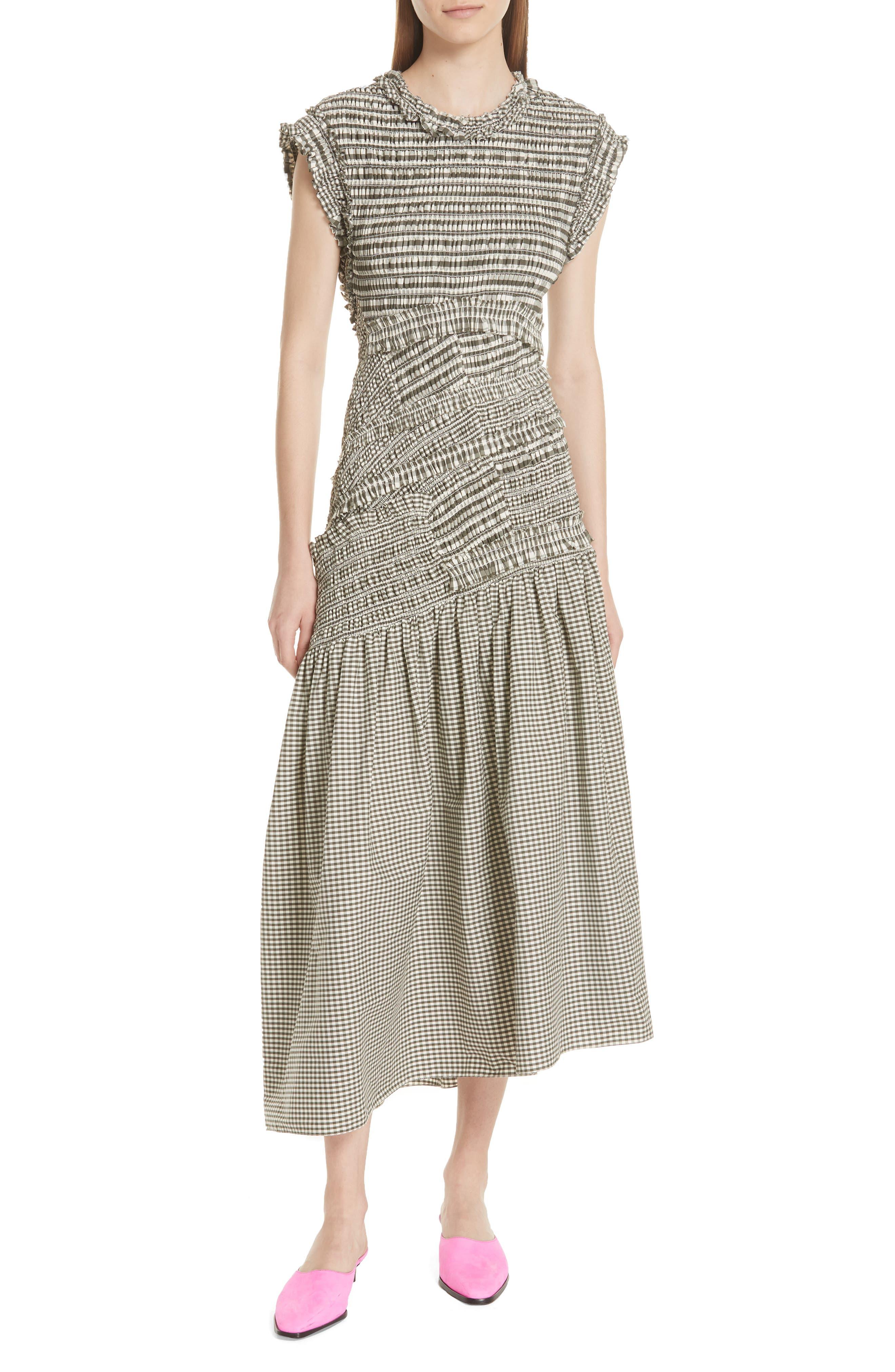 Gathered Gingham Drop Waist Dress,                         Main,                         color, 033