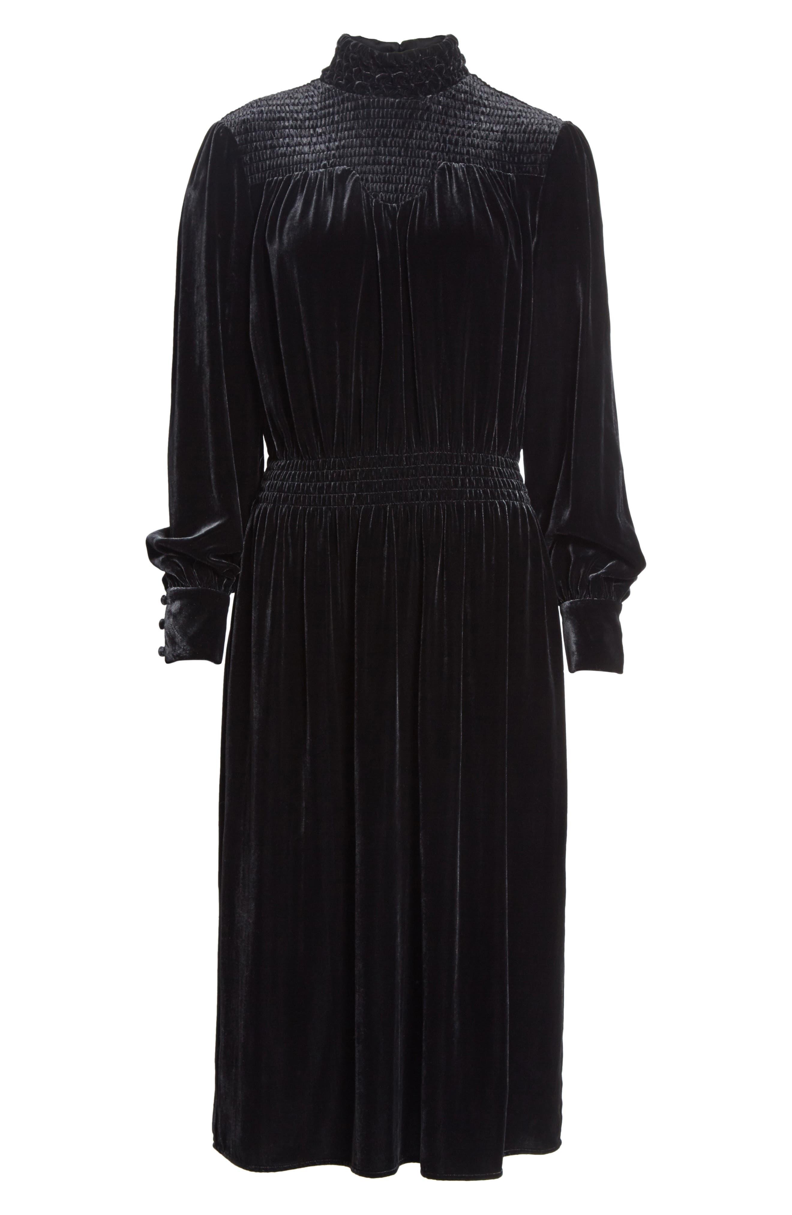 Smocked Velvet Midi Dress,                             Alternate thumbnail 6, color,