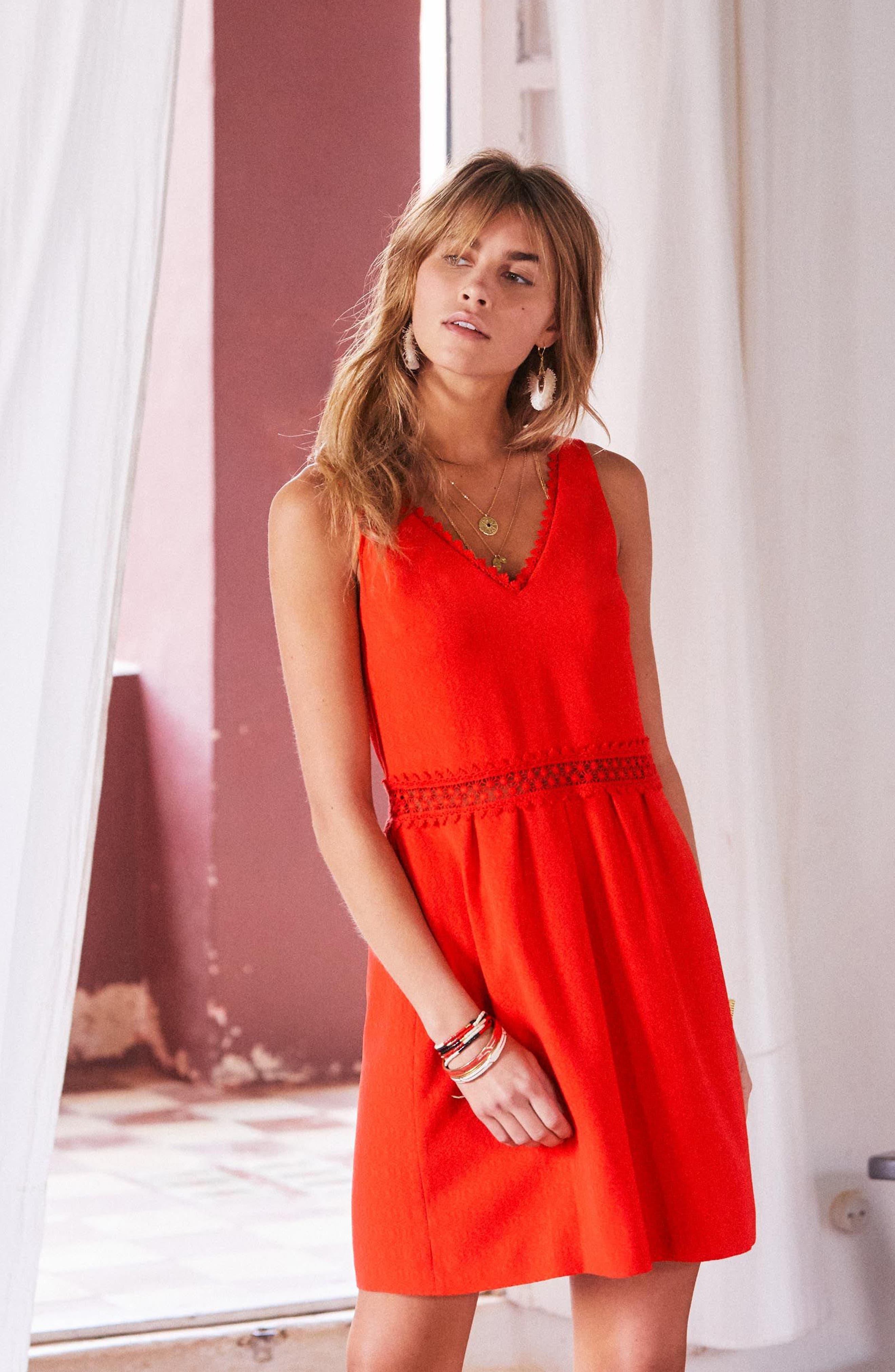 Daniela Lace Trim A-Line Dress,                             Alternate thumbnail 8, color,
