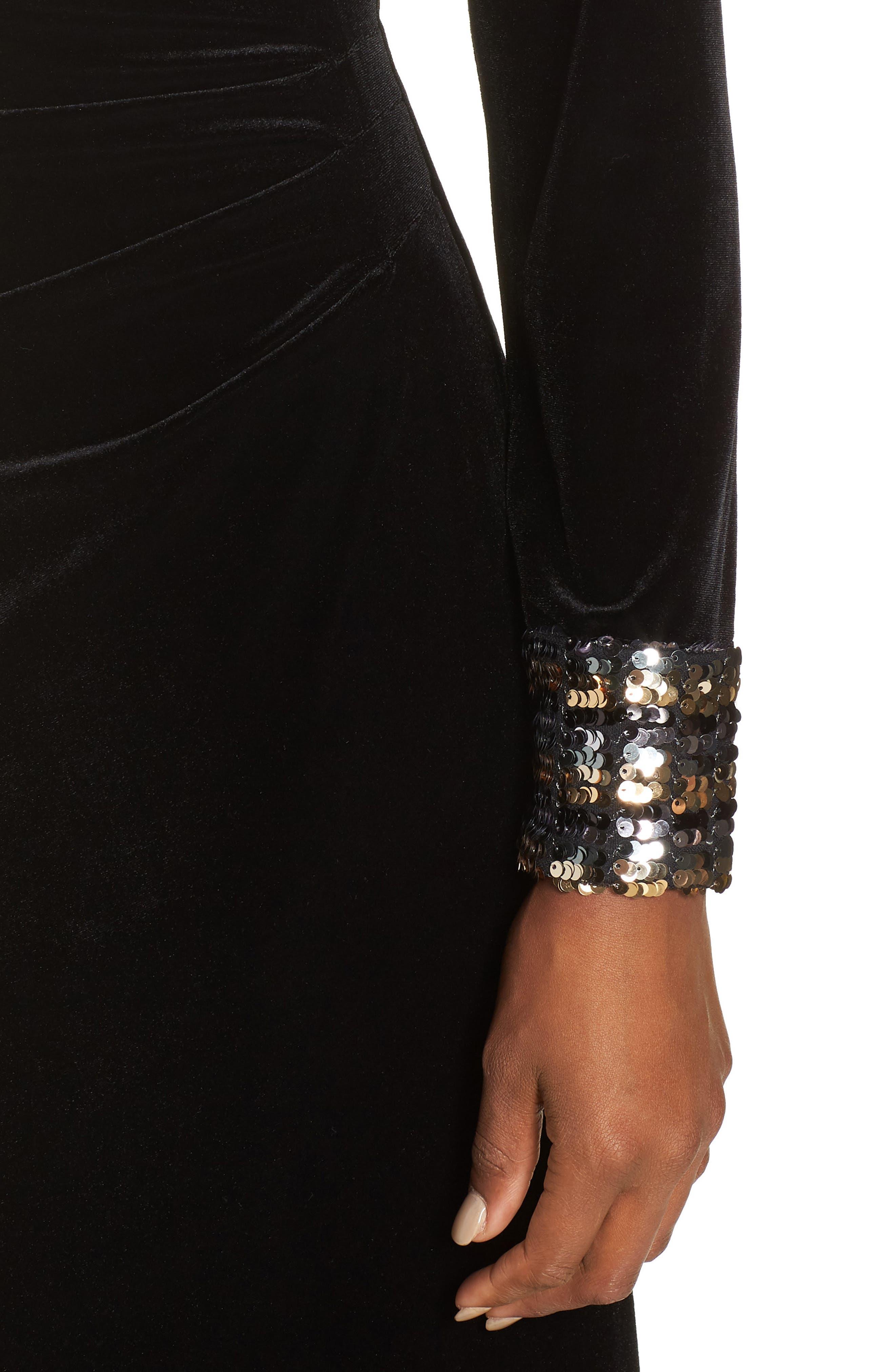 Sequin Cuff Stretch Velvet Gown,                             Alternate thumbnail 4, color,                             BLACK