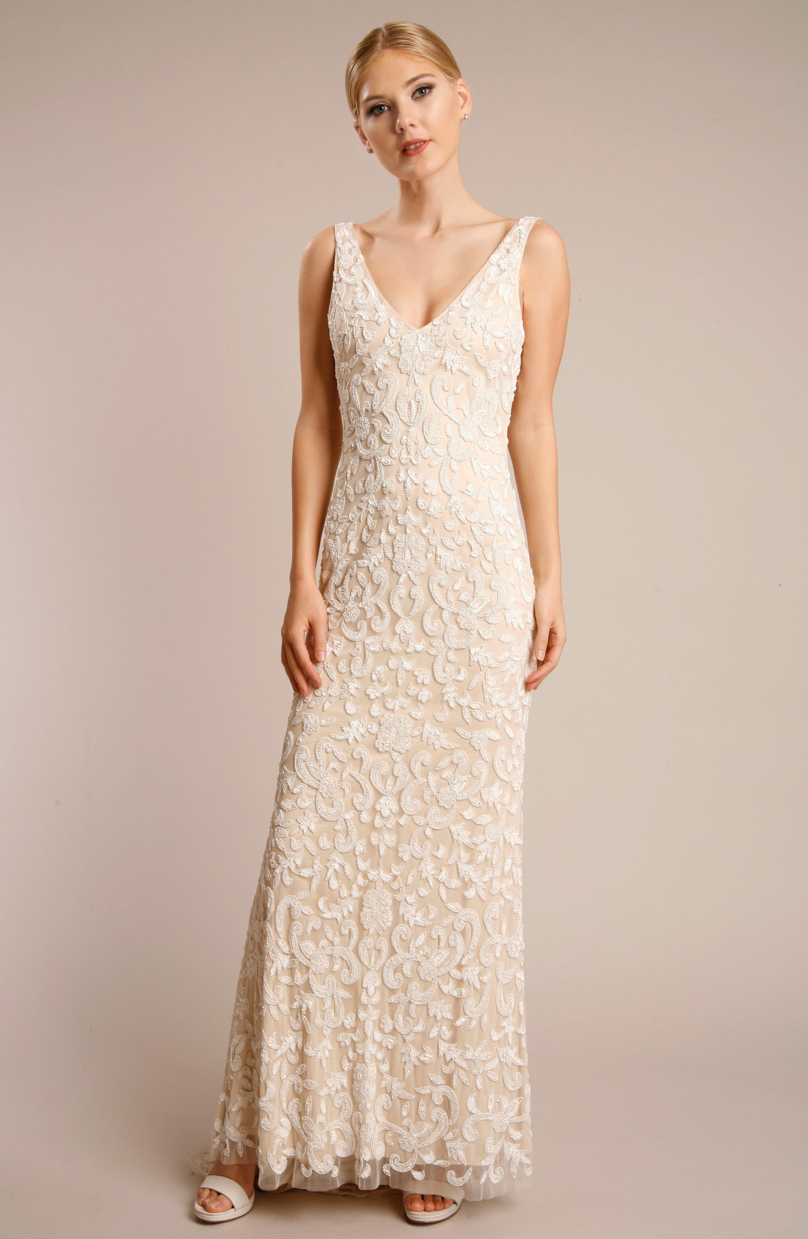 Beaded Lace Gown,                         Main,                         color, NUDE