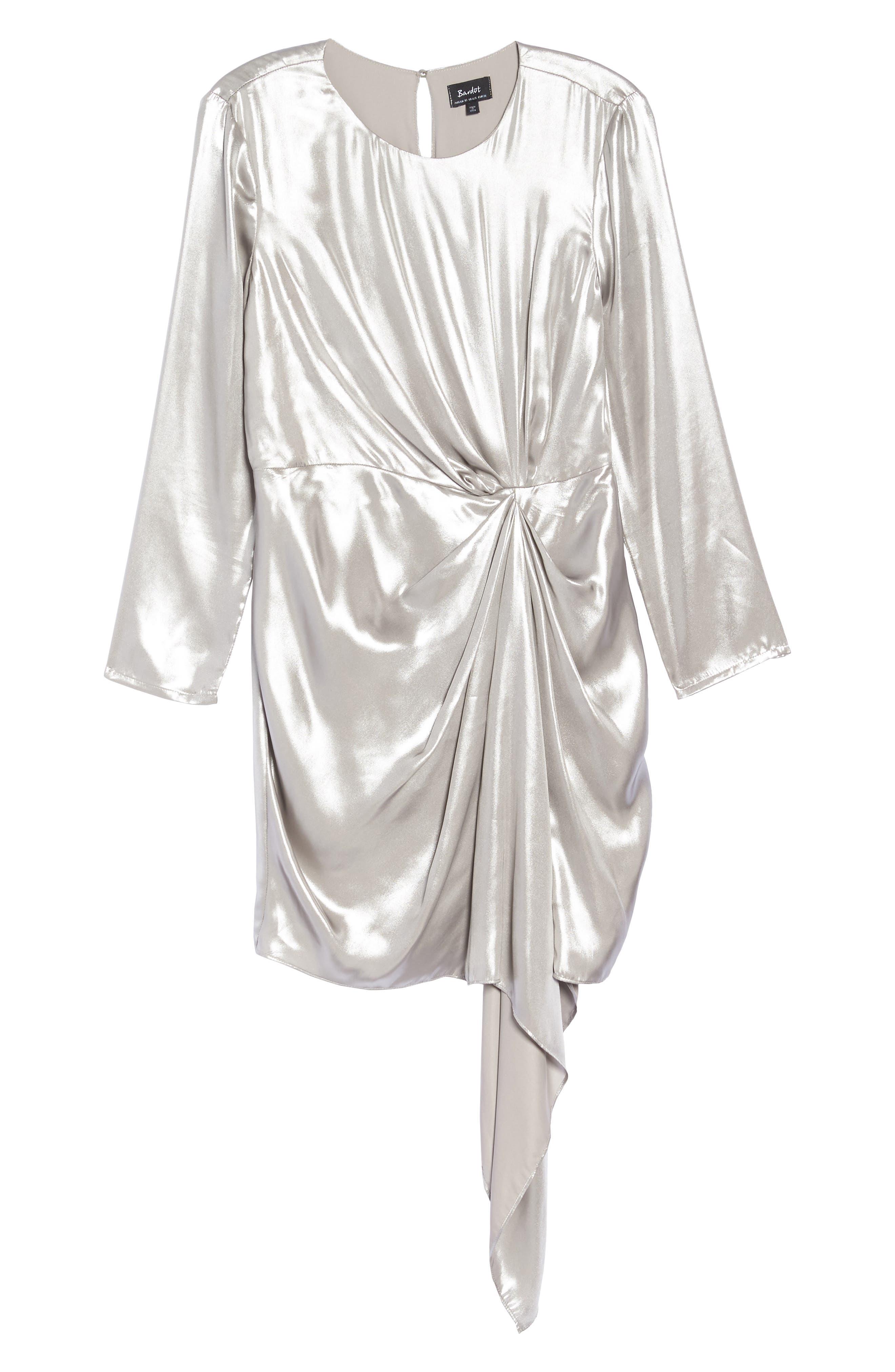 Shimmer Drape Front Dress,                             Alternate thumbnail 6, color,