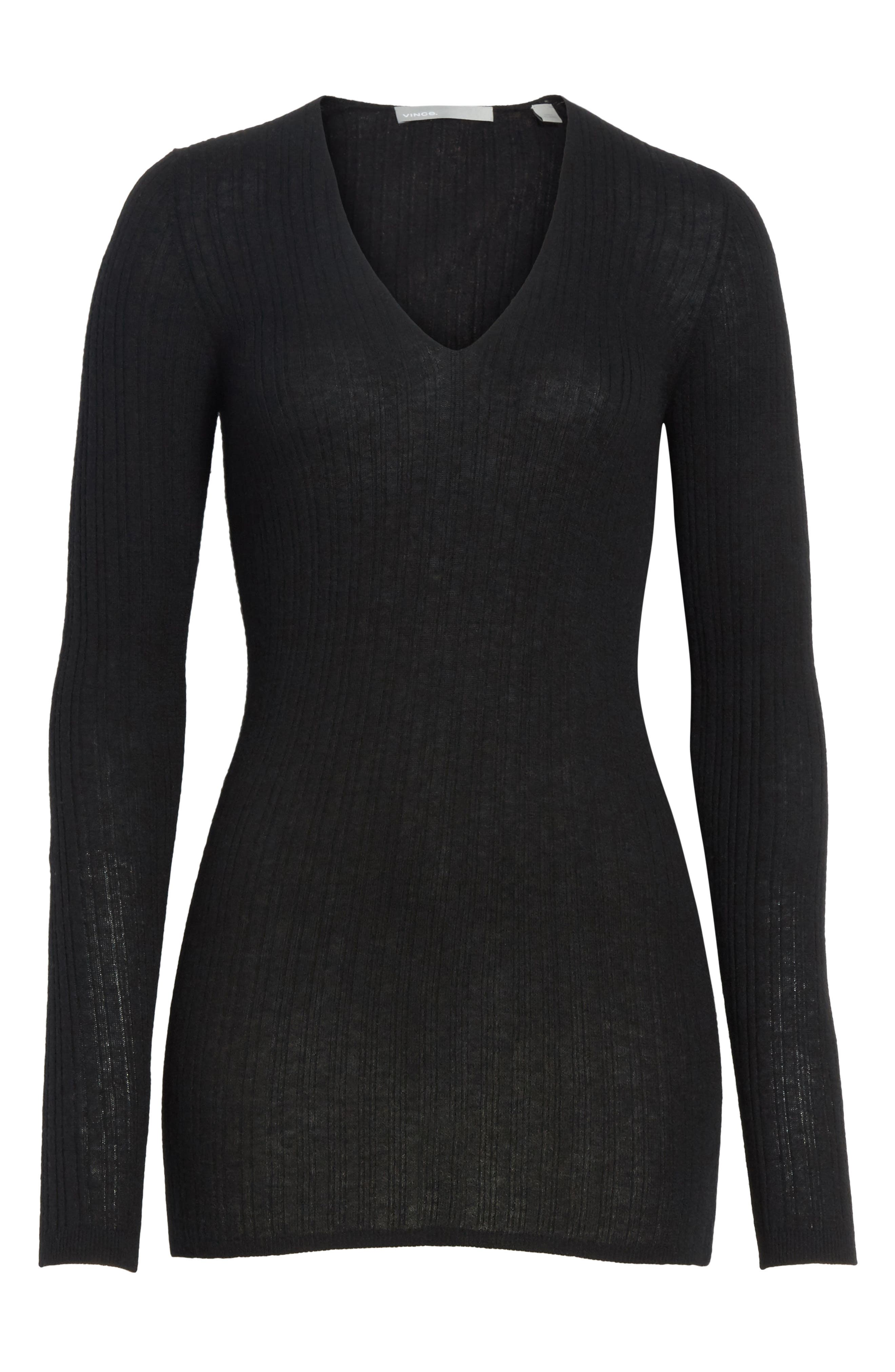 Ribbed Cashmere V-Neck Sweater,                             Alternate thumbnail 6, color,                             001