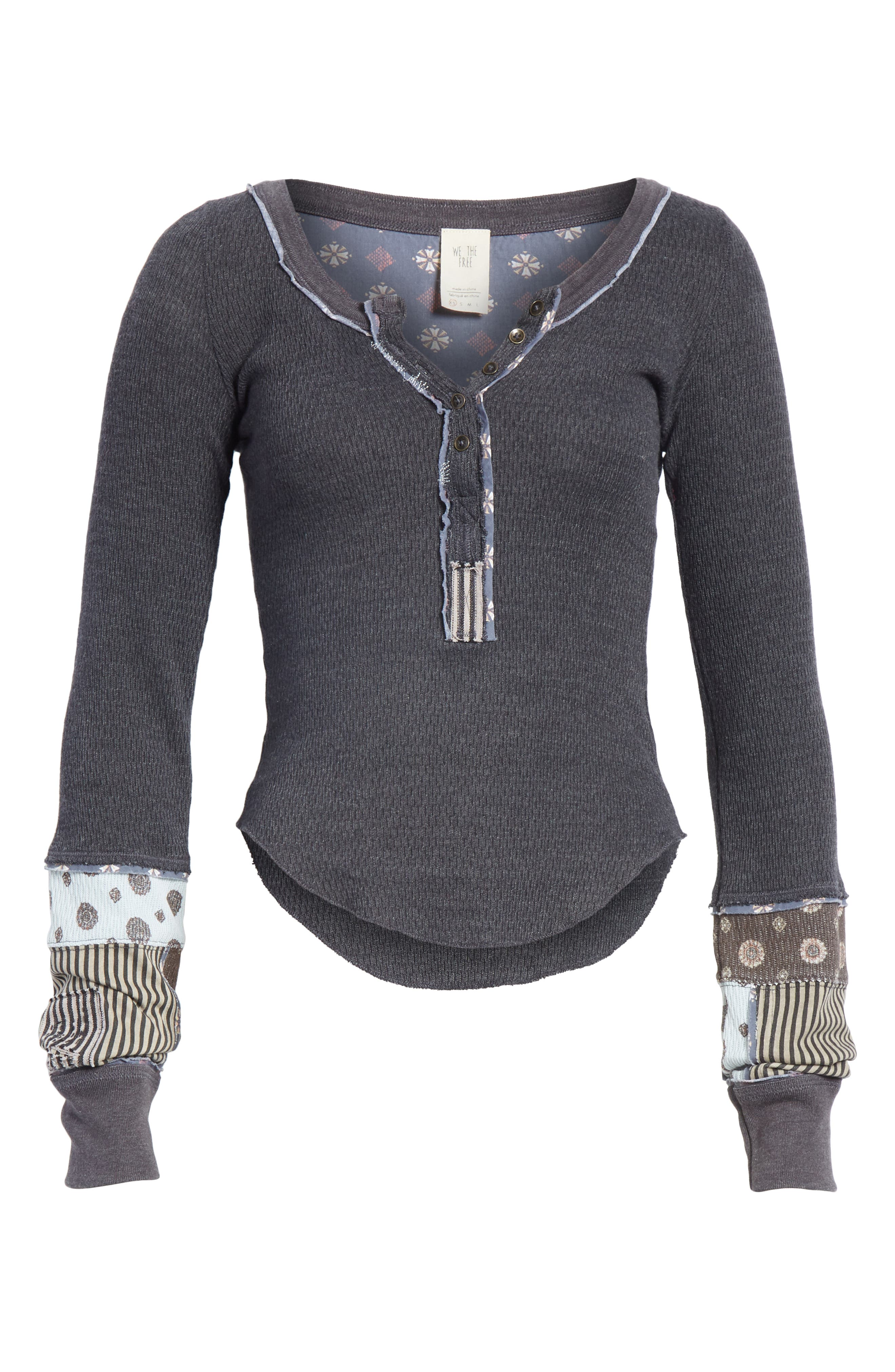We the Free by Free People Railroad Henley Top,                             Alternate thumbnail 6, color,                             001