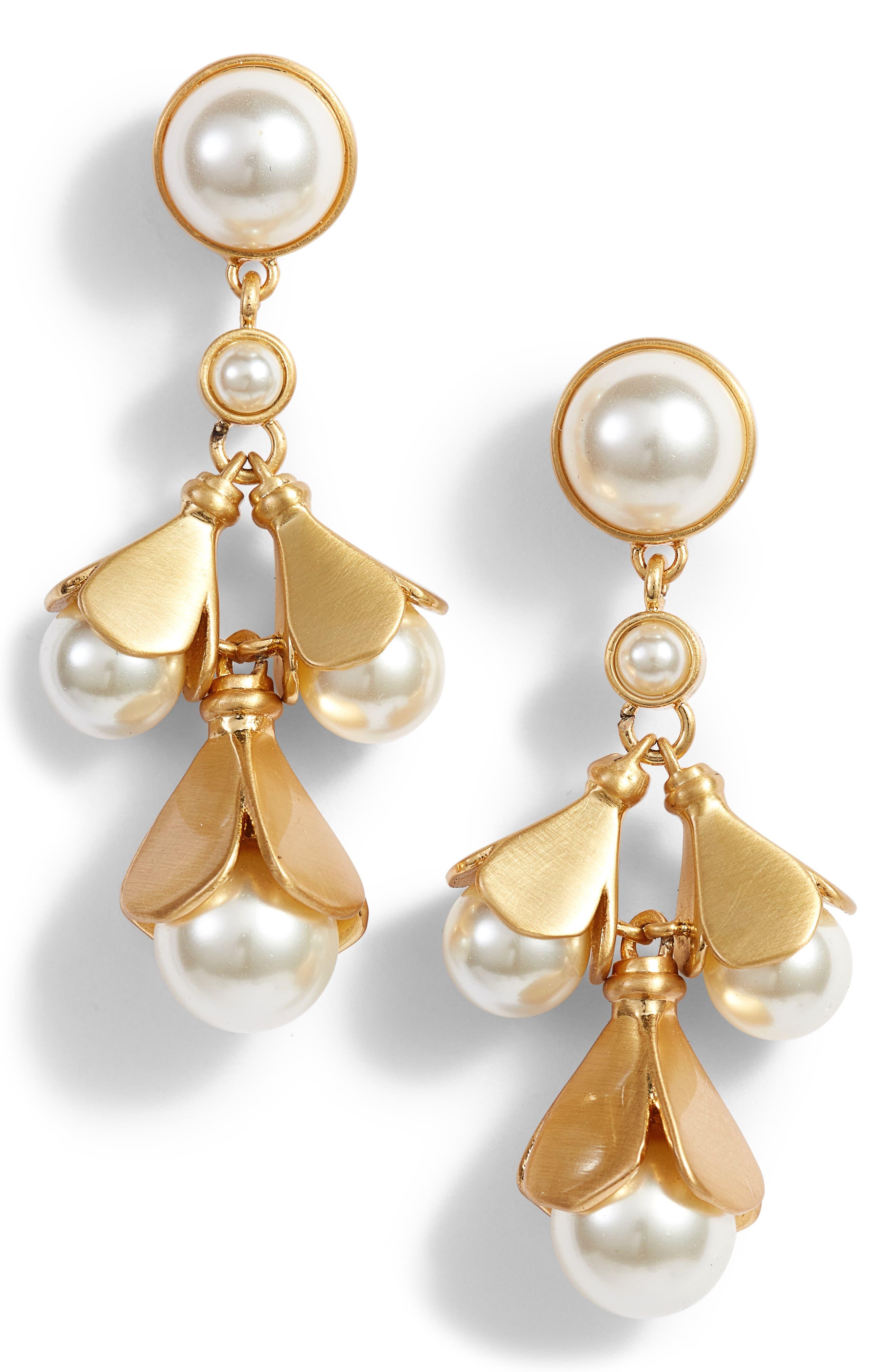 Bellflower Drop Earrings,                             Main thumbnail 1, color,                             PEARL / BRASS