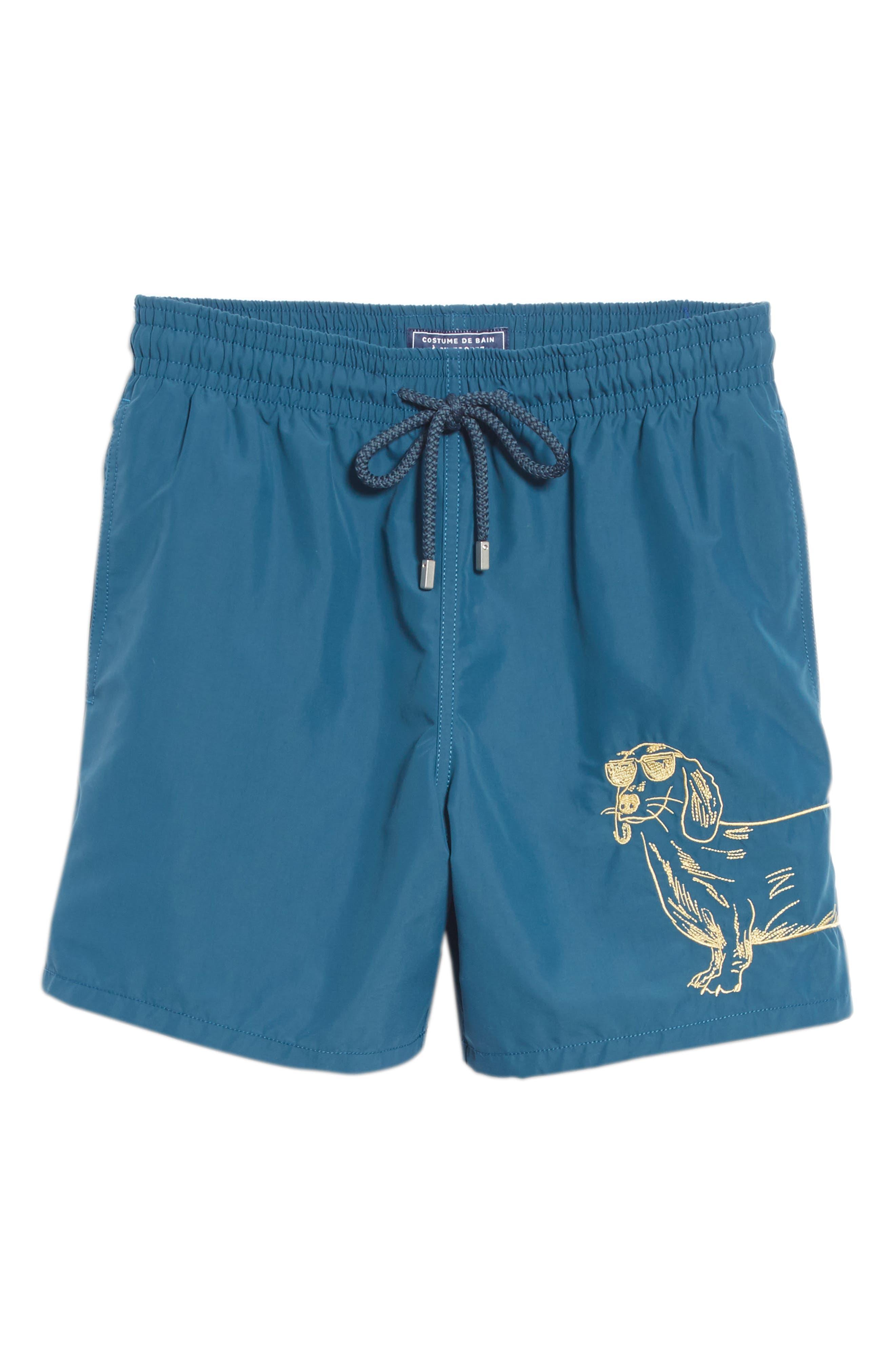 Embroidered Sunny Dog Swim Trunks,                             Alternate thumbnail 6, color,                             471