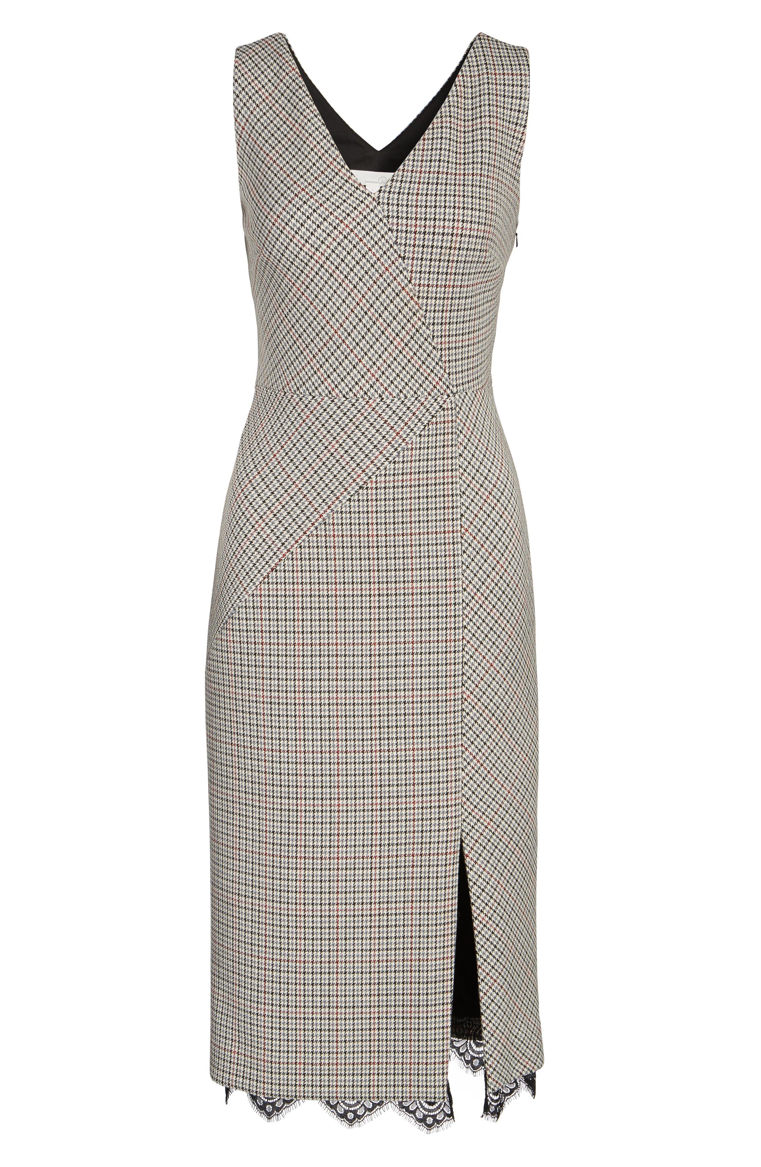 Houndstooth Sheath Dress,                             Alternate thumbnail 6, color,                             270