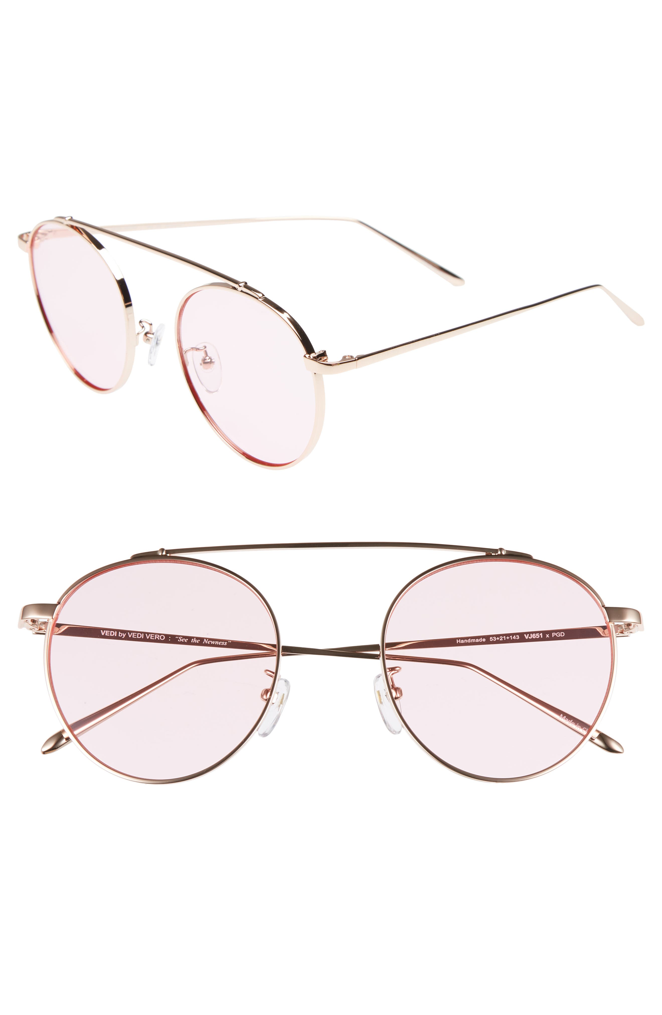 VEDI VERO,                             53mm Round Sunglasses,                             Main thumbnail 1, color,                             ROSEGLD/PINK