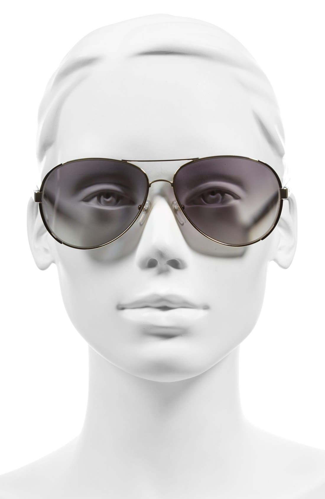 60mm Oversize Aviator Sunglasses,                             Alternate thumbnail 2, color,                             712