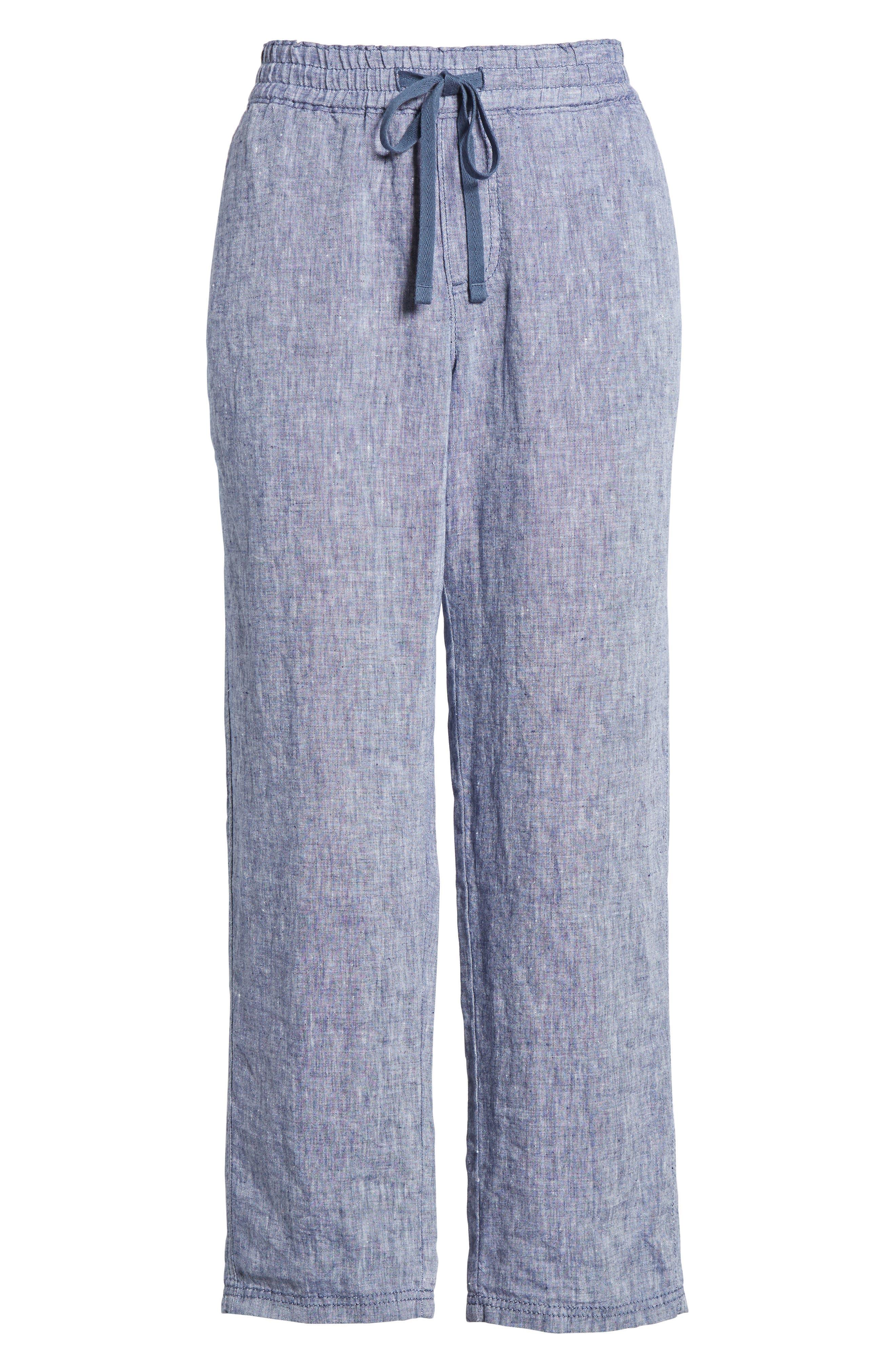 Linen Crop Pants,                             Alternate thumbnail 6, color,                             411