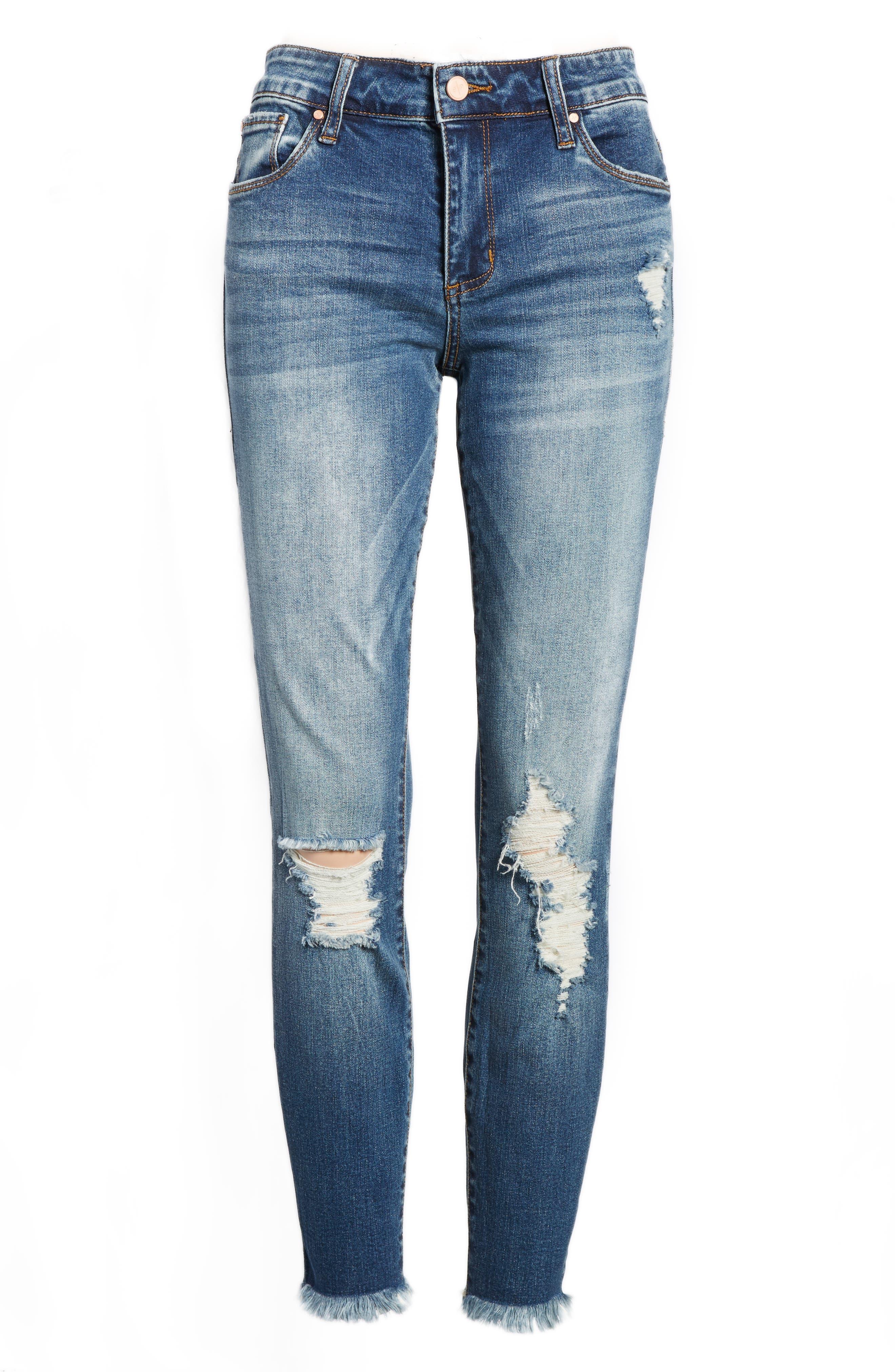 Distressed Fray Hem Skinny Jeans,                             Alternate thumbnail 7, color,                             420