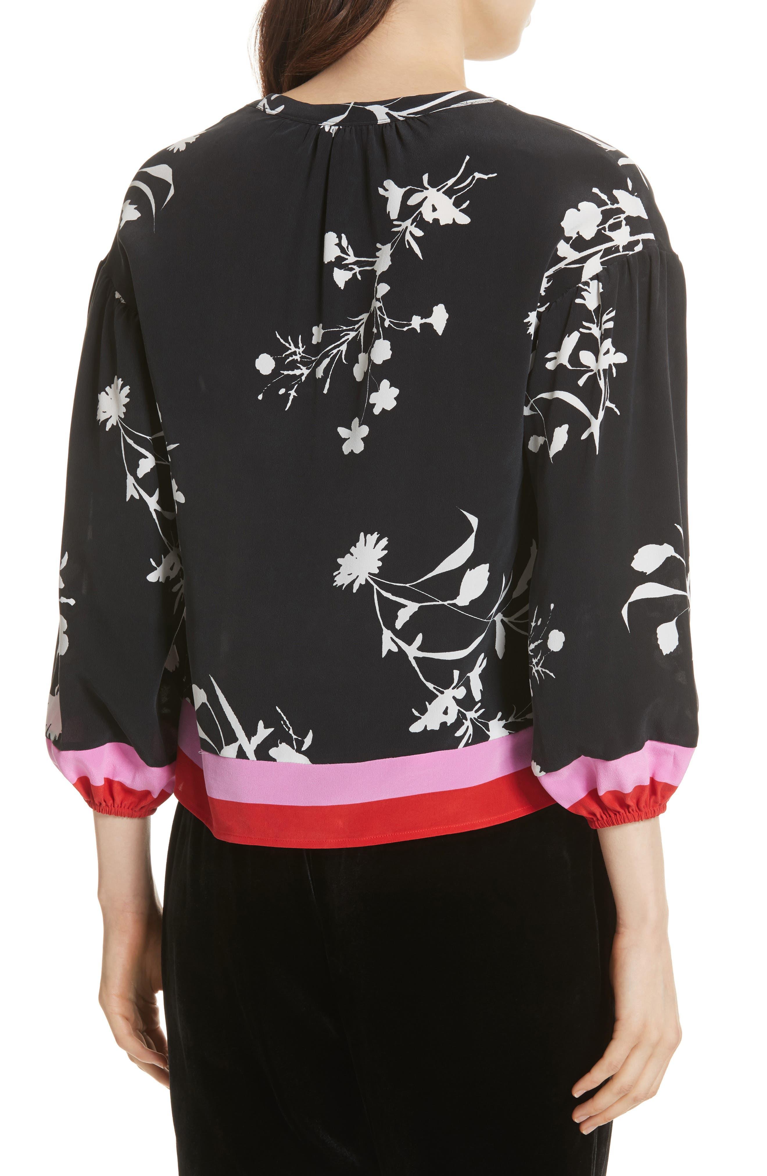 Eilga Floral Silk Blouse,                             Alternate thumbnail 2, color,