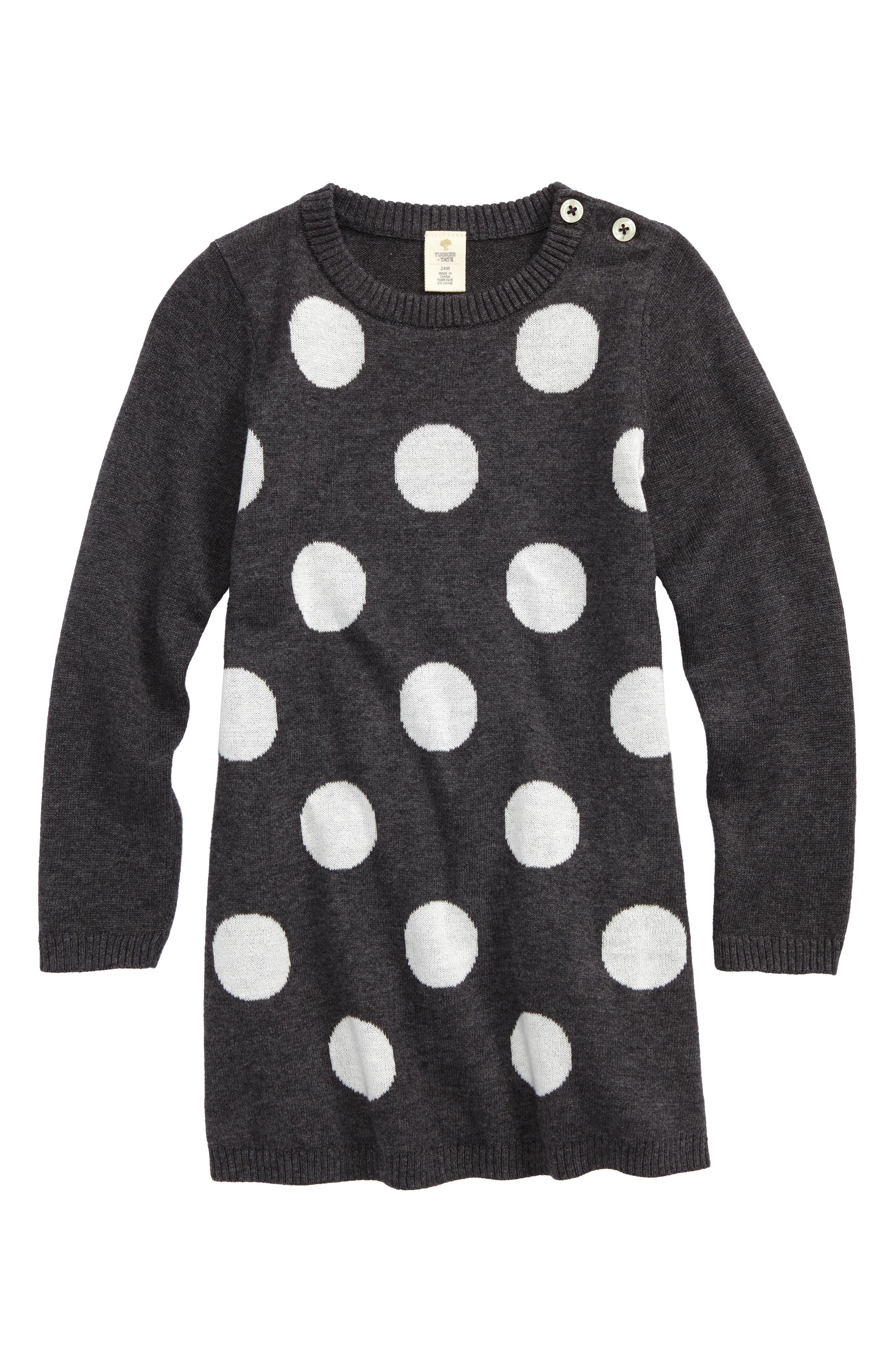 Polka Dot Sweater Dress,                         Main,                         color, 021