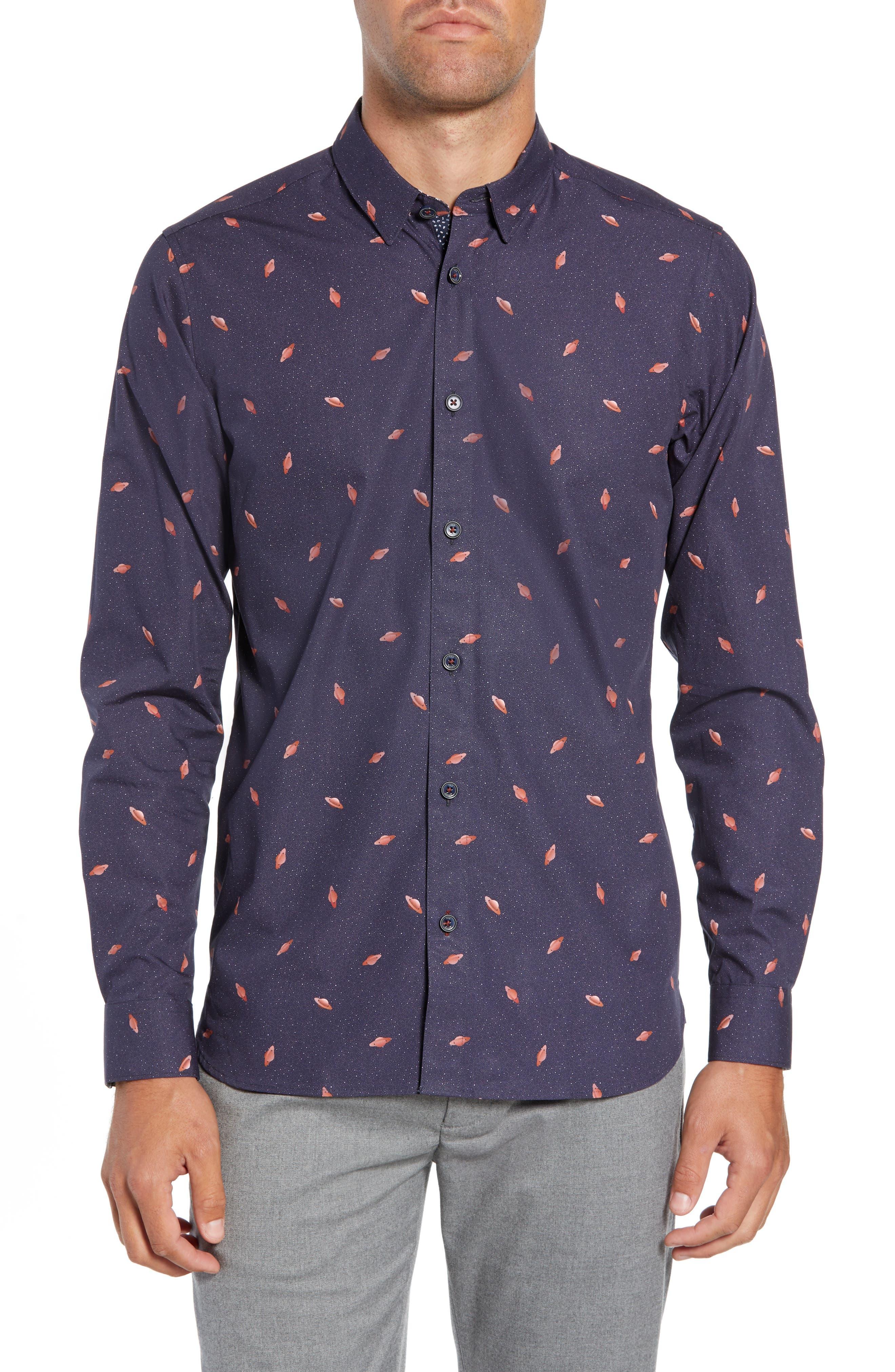 Charcro Slim Fit Print Sport Shirt,                         Main,                         color, NAVY