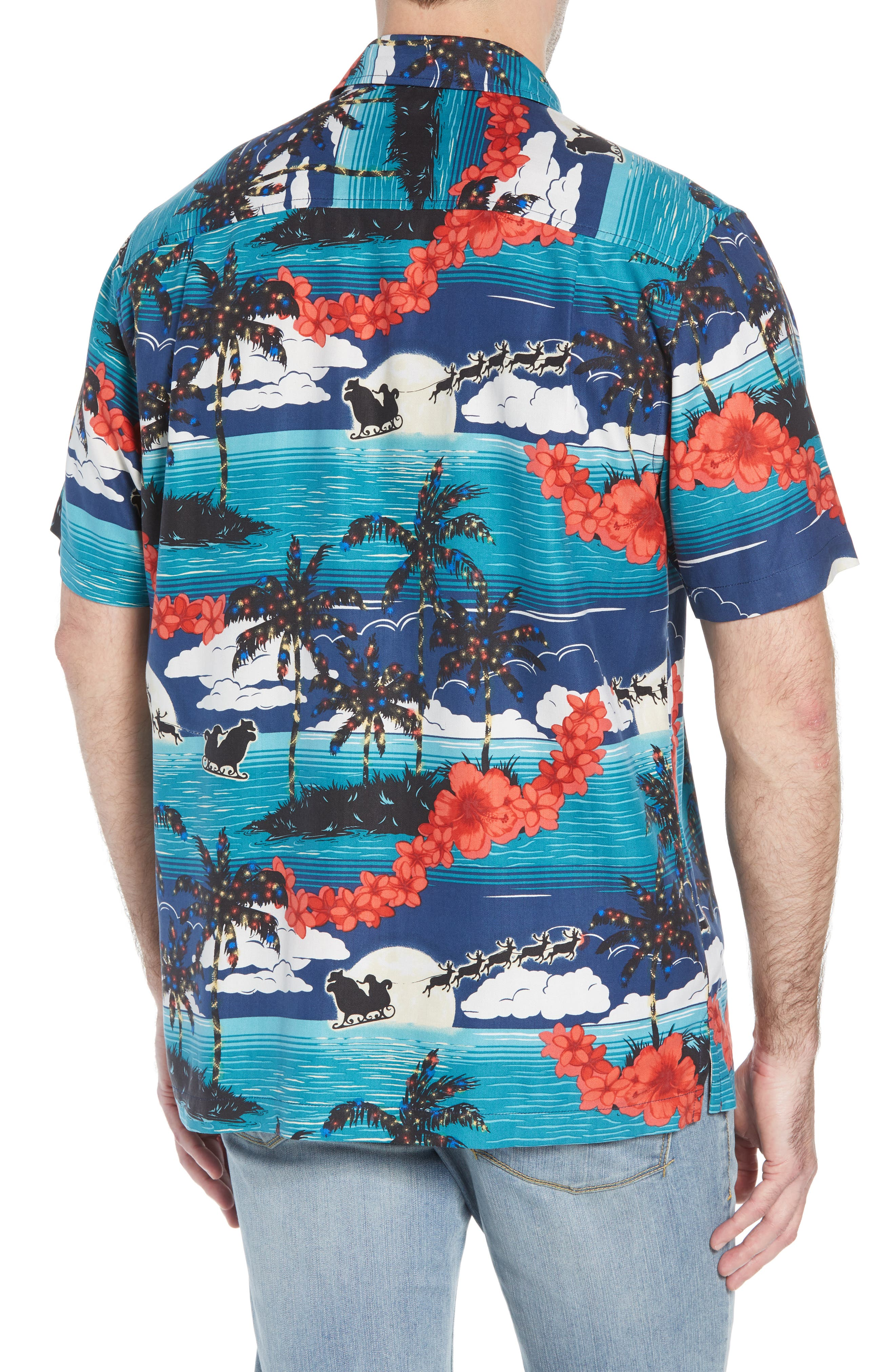 Moonlight In Paradise Silk Camp Shirt,                             Alternate thumbnail 3, color,                             OCEAN DEEP