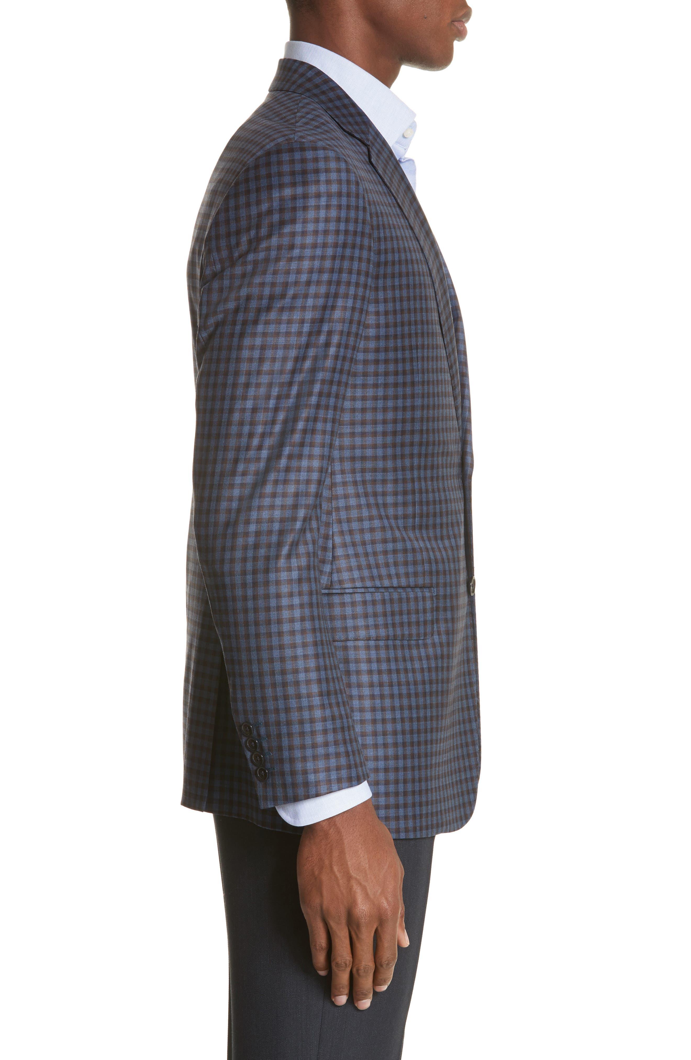 G Line Trim Fit Check Wool Sport Coat,                             Alternate thumbnail 3, color,                             443