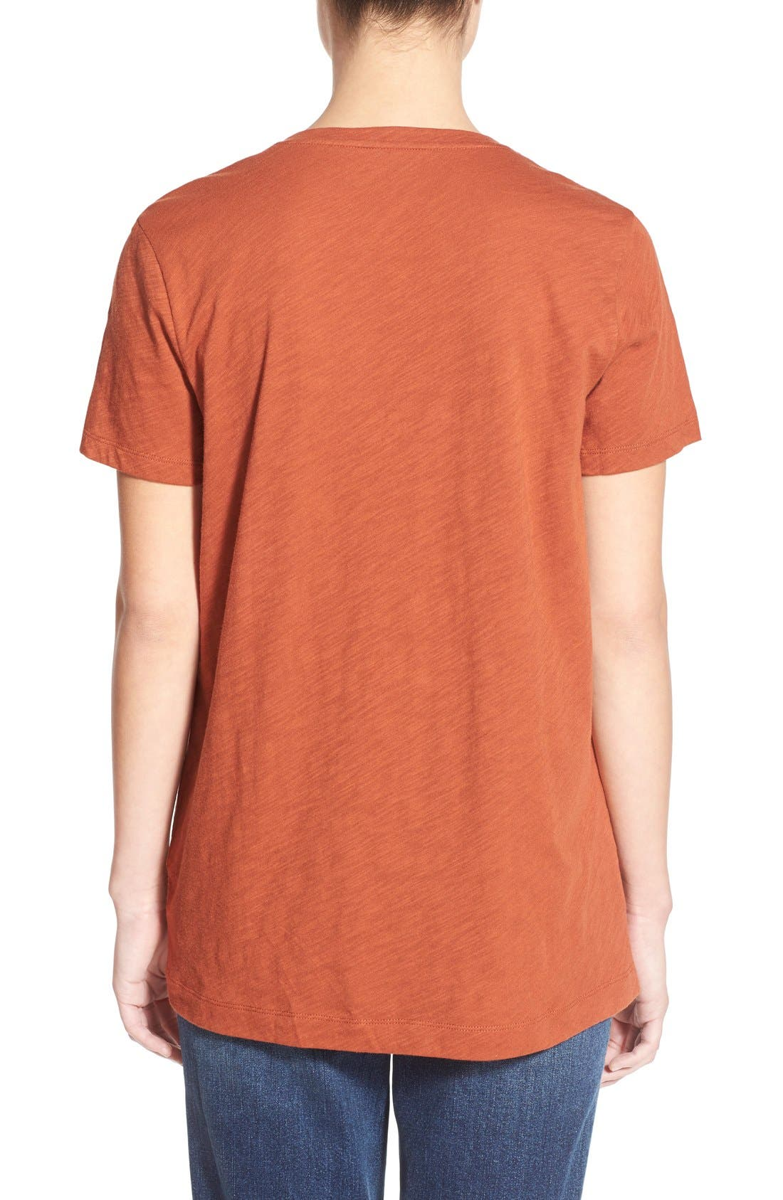 Whisper Cotton V-Neck Pocket Tee,                             Alternate thumbnail 99, color,