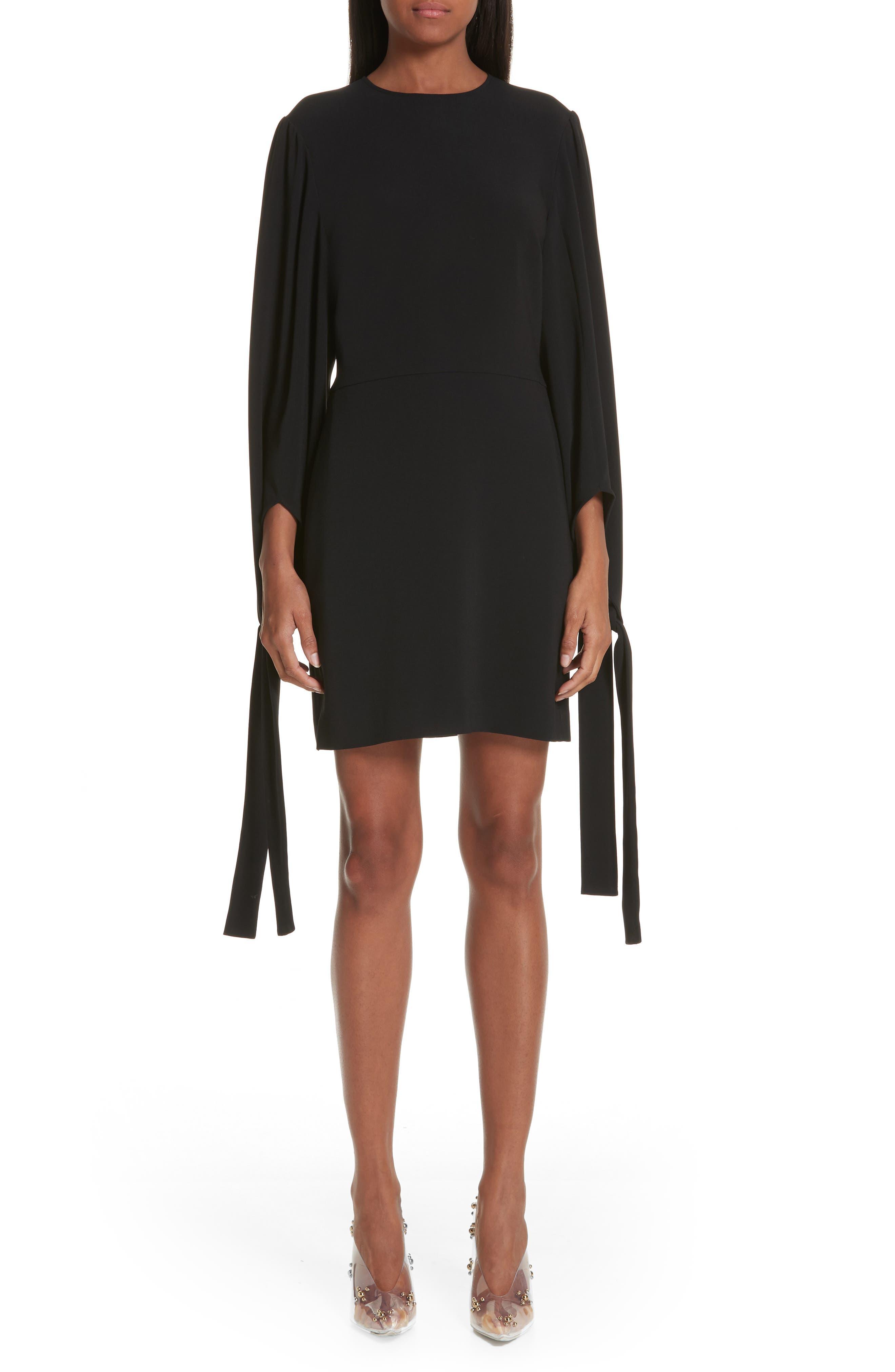 Tie Cuff Stretch Cady Dress, Main, color, BLACK