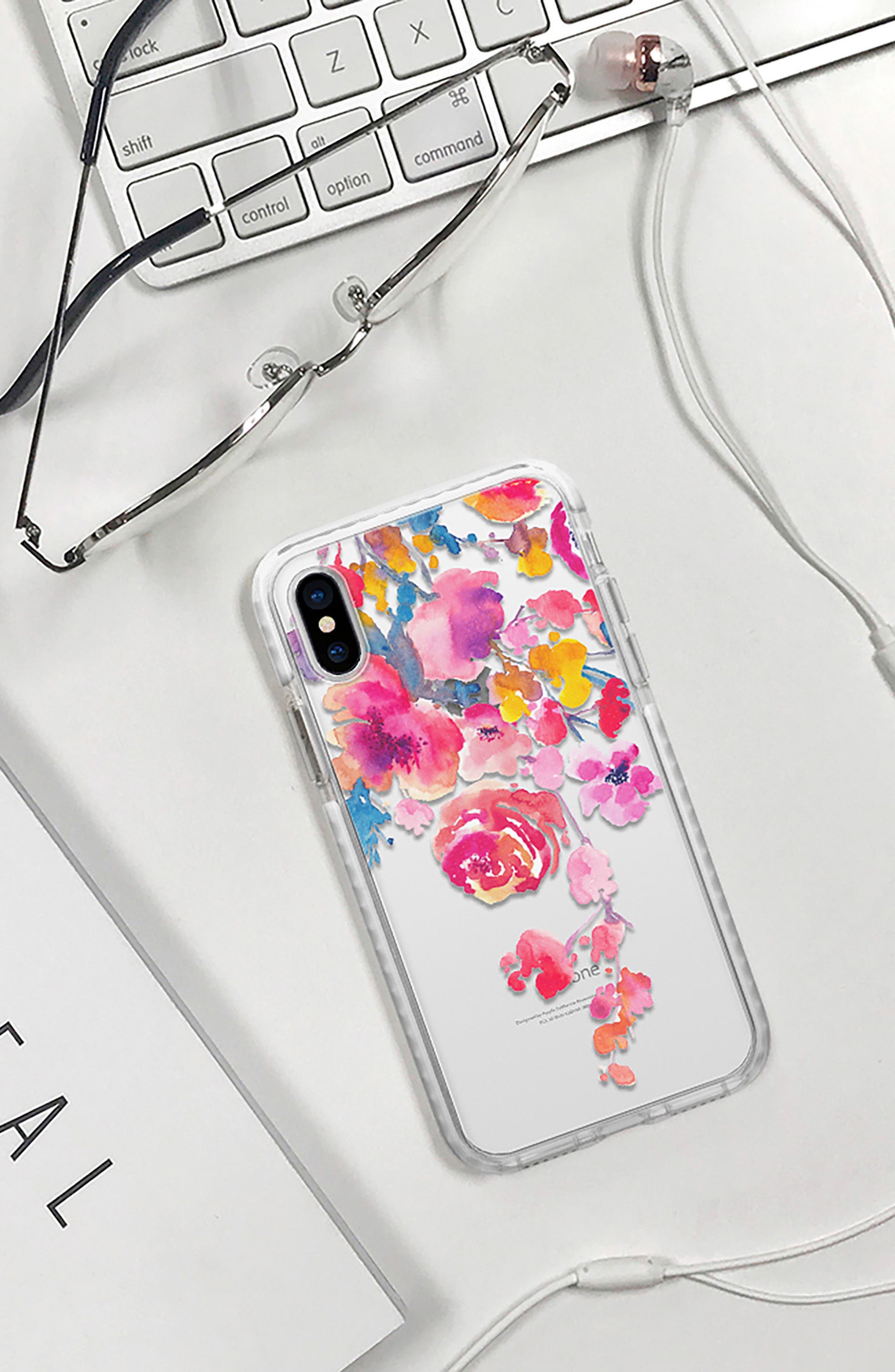 Watercolor Floral iPhone X & Xs Case,                             Alternate thumbnail 6, color,                             PINK MULTI