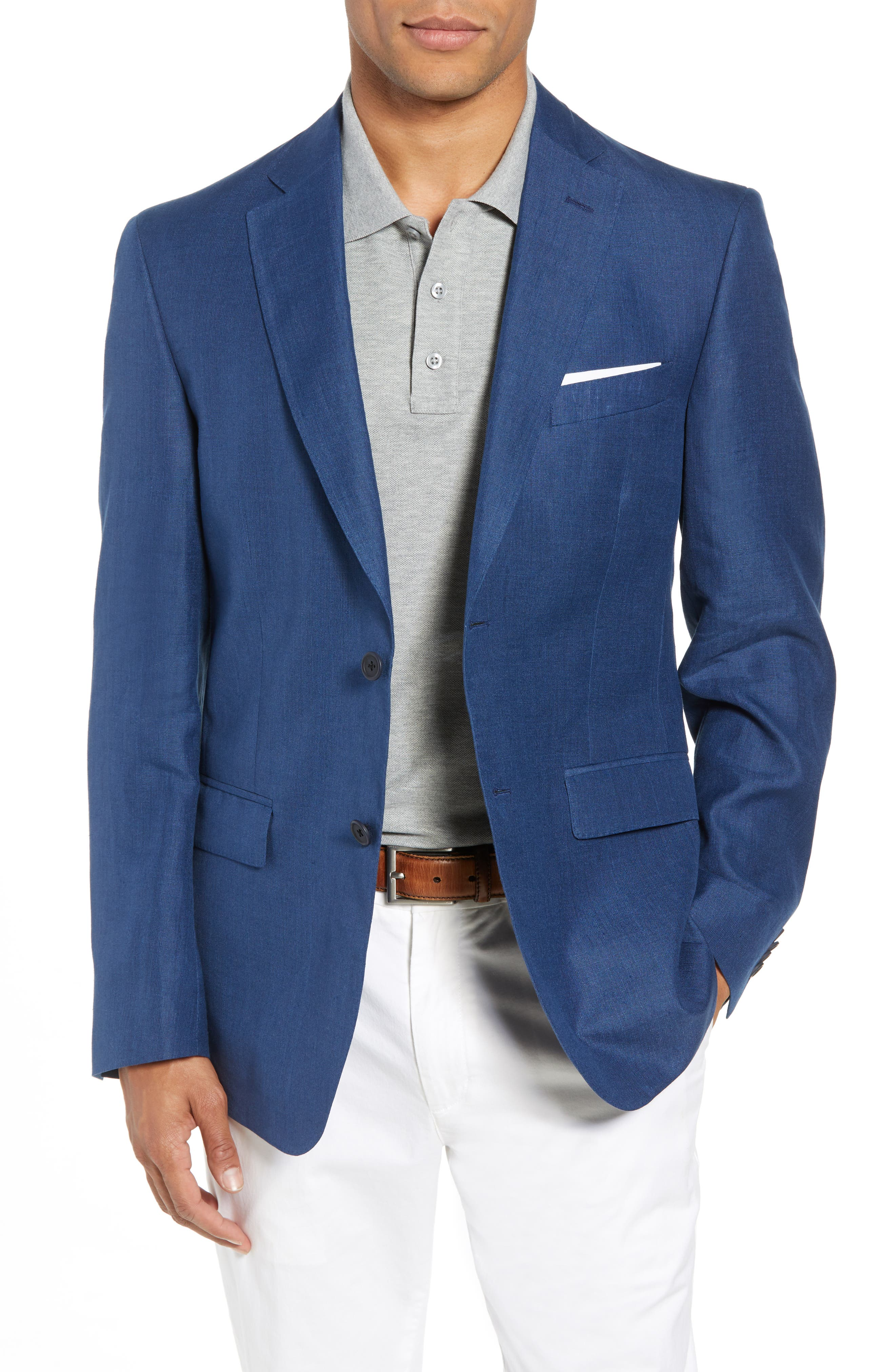 Traditional Fit Linen & Silk Blazer,                         Main,                         color, 420