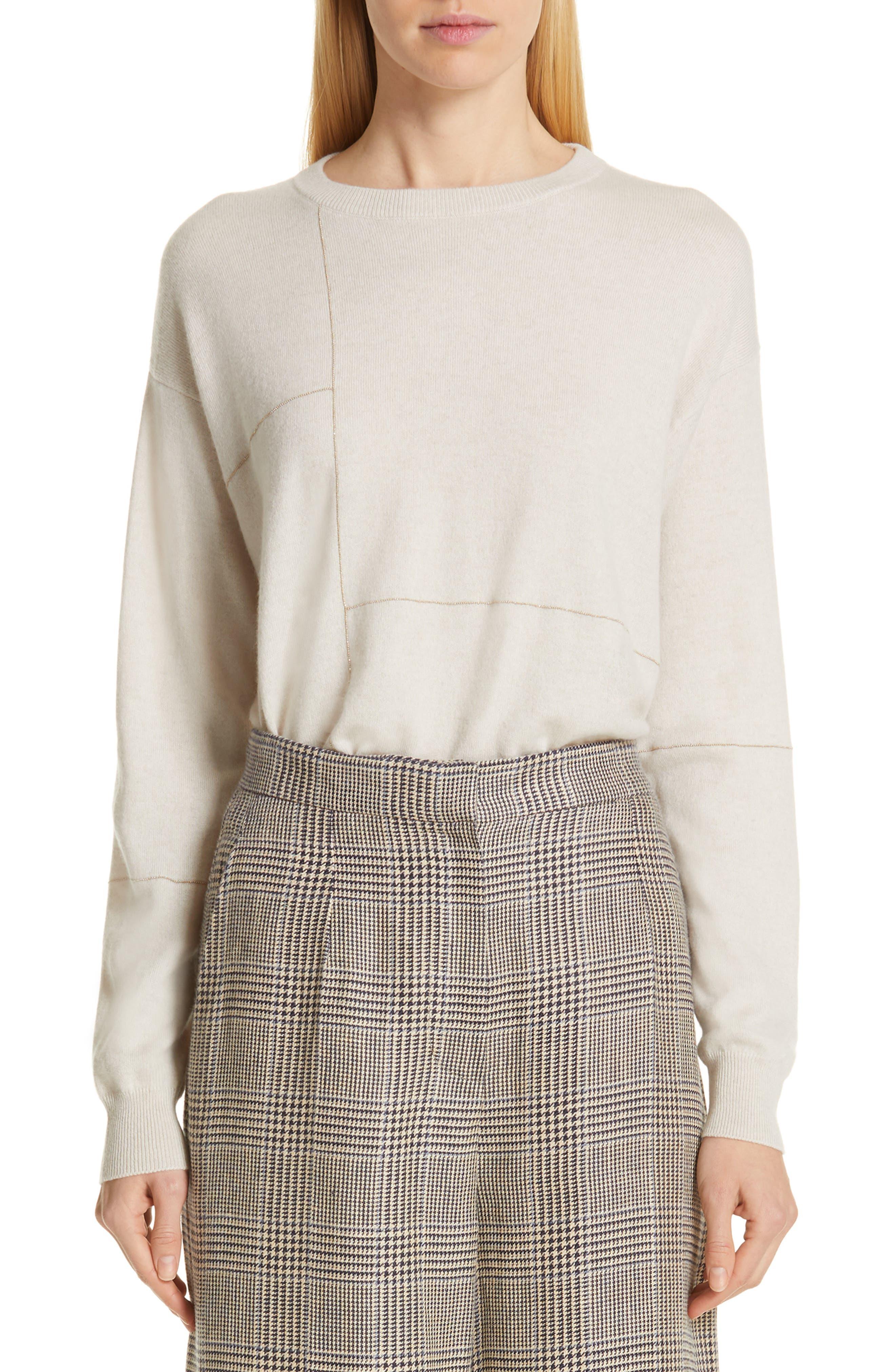 Monili Patchwork Cashmere Sweater,                             Main thumbnail 1, color,                             BUTTERMILK