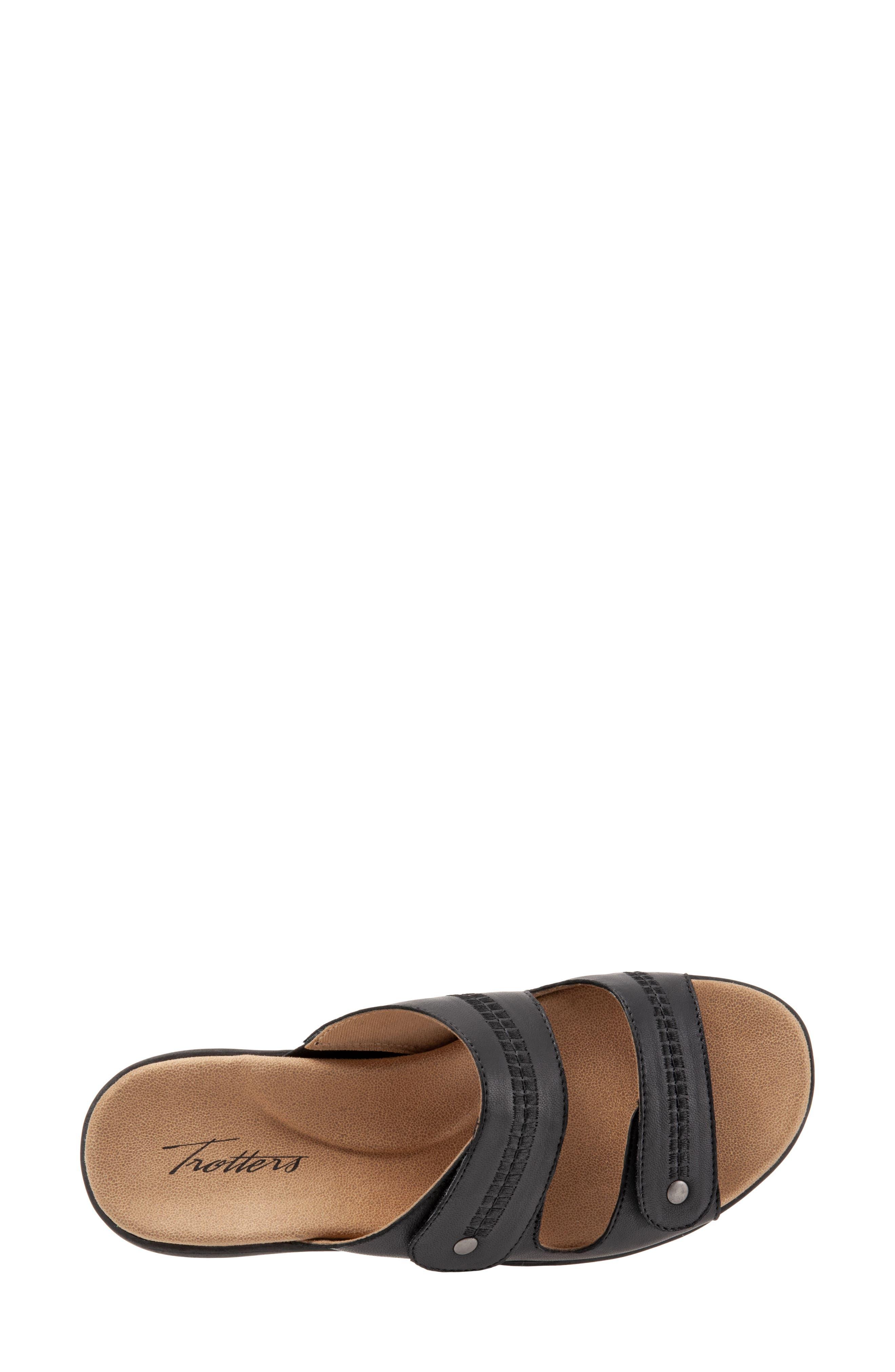 Vale Double Strap Slide Sandal,                             Alternate thumbnail 5, color,                             BLACK LEATHER