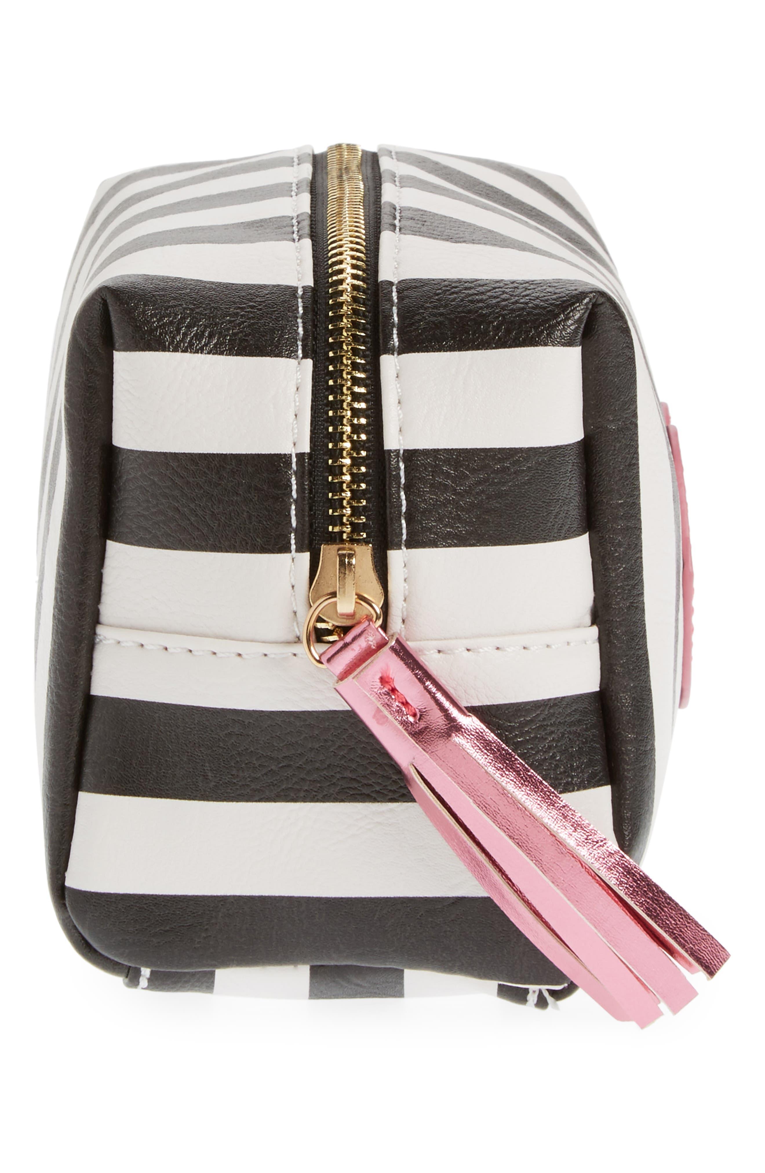 Metallic Lip Stripe Cosmetics Bag,                             Alternate thumbnail 4, color,                             001