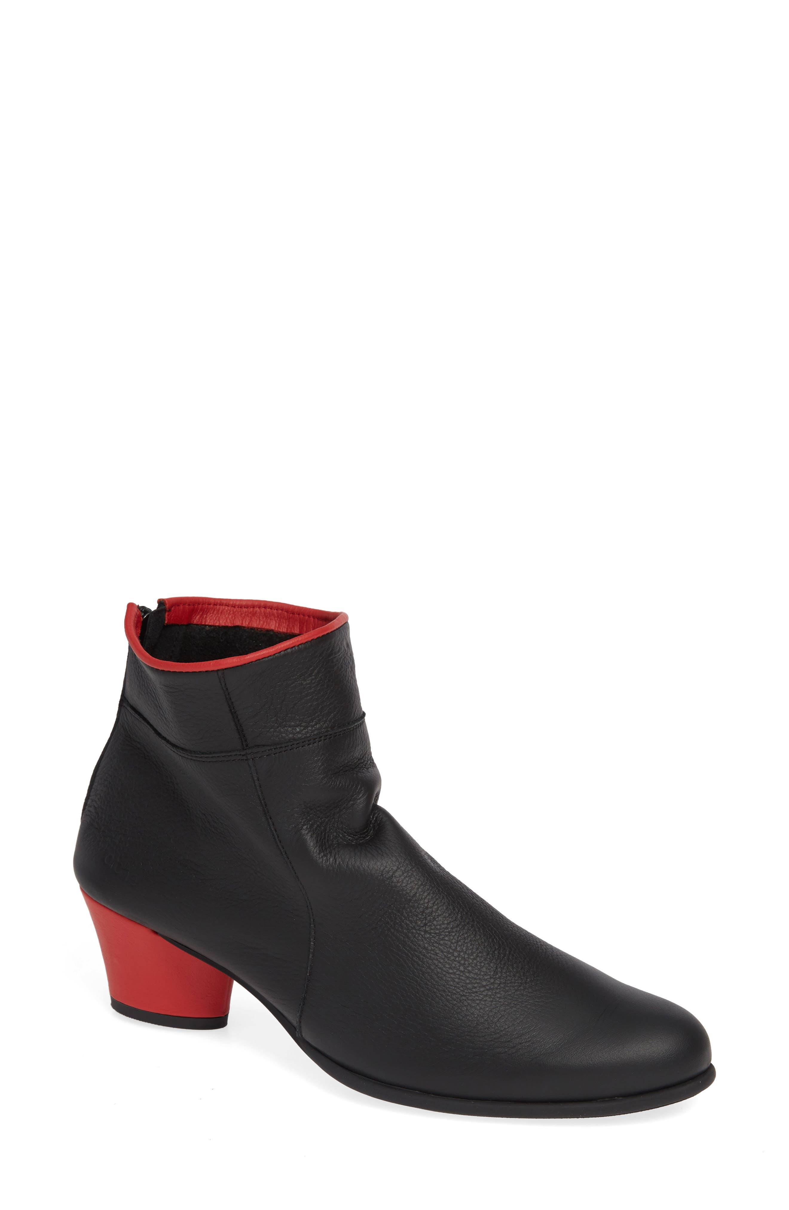 ARCHE Museki Water Resistant Bootie in Noir/ Feu Leather
