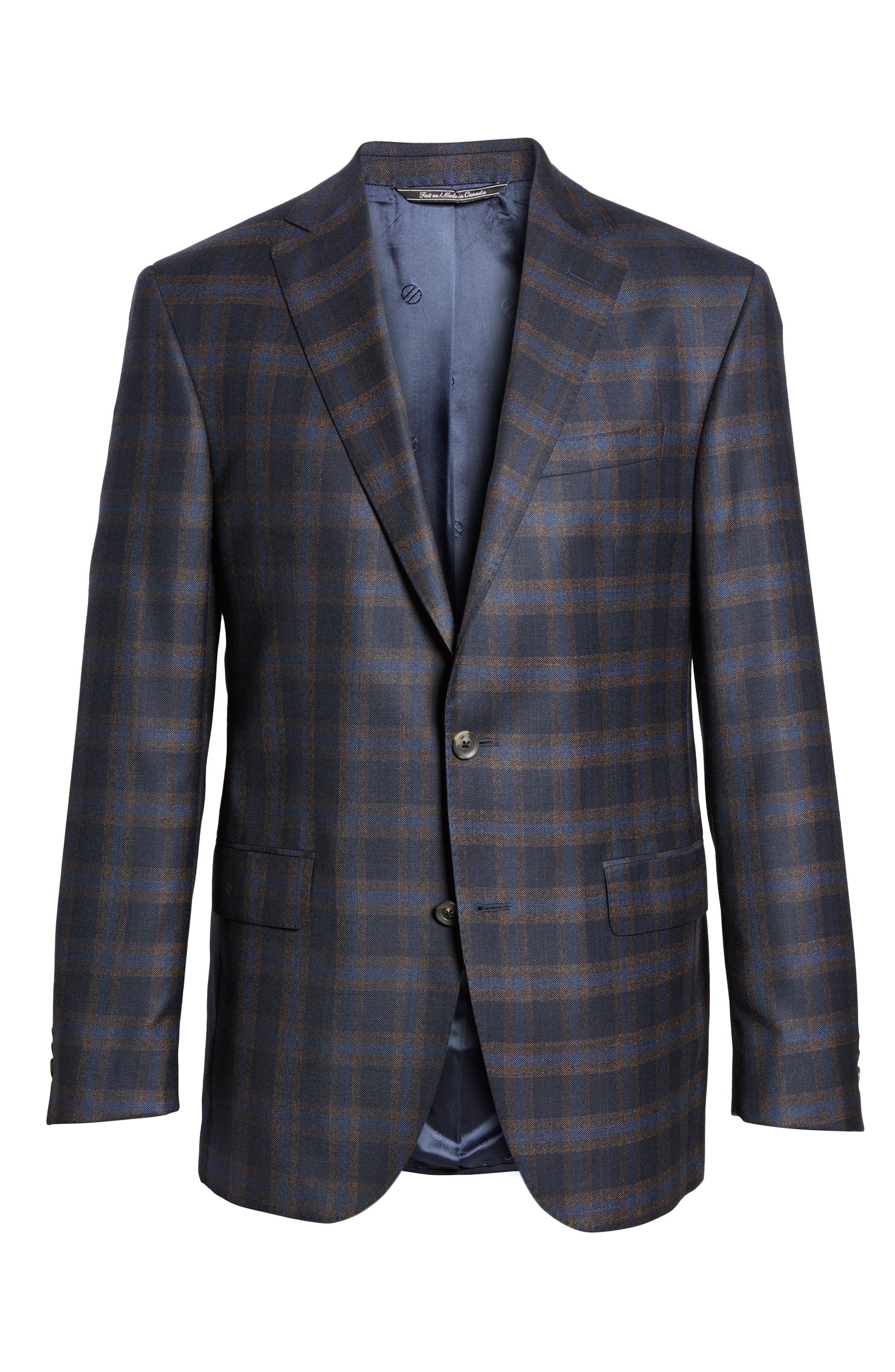 Connor Classic Fit Check Wool Sport Coat,                             Alternate thumbnail 5, color,                             410
