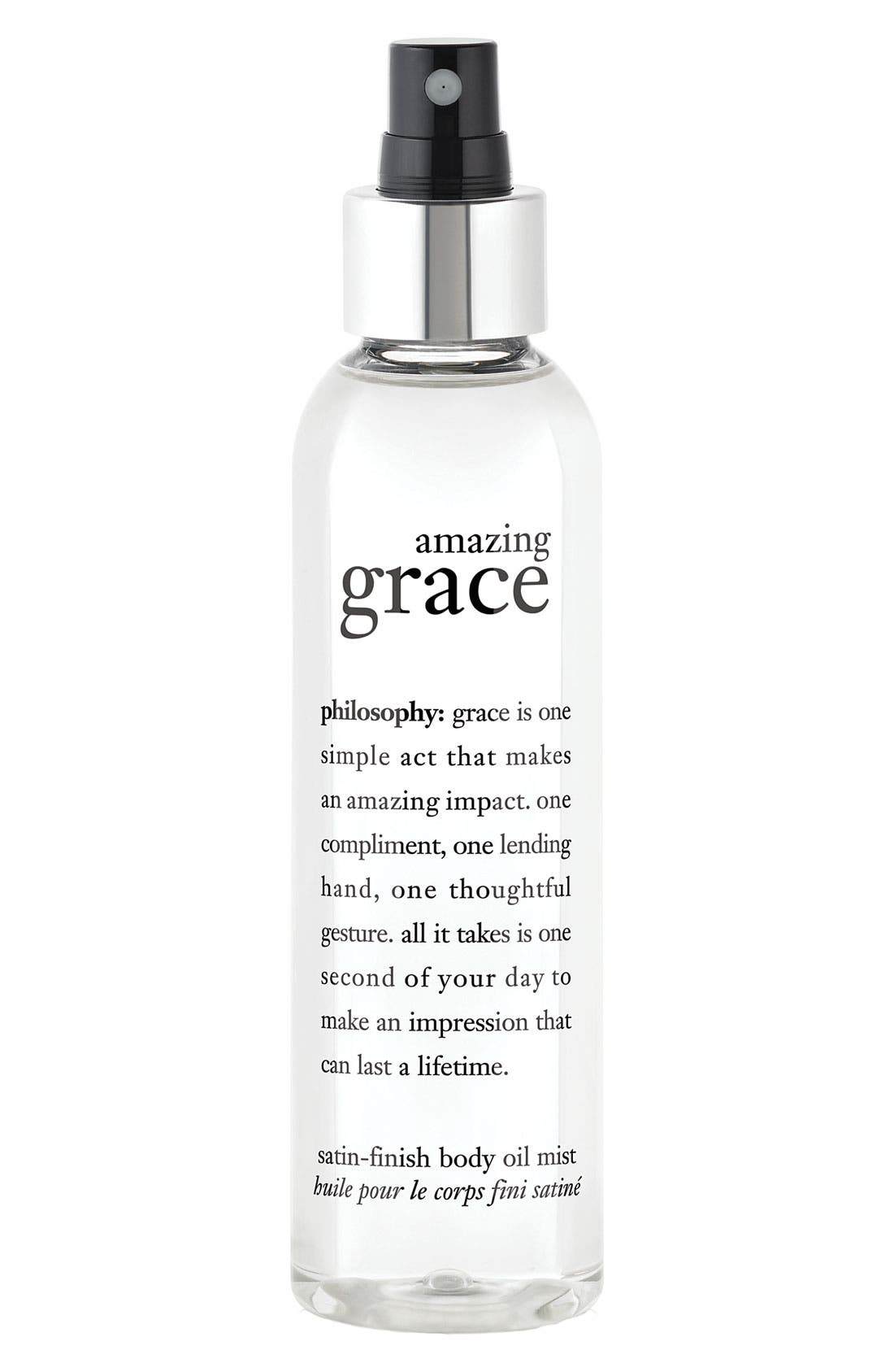 'amazing grace' satin-finish body oil mist,                             Main thumbnail 1, color,                             NO COLOR