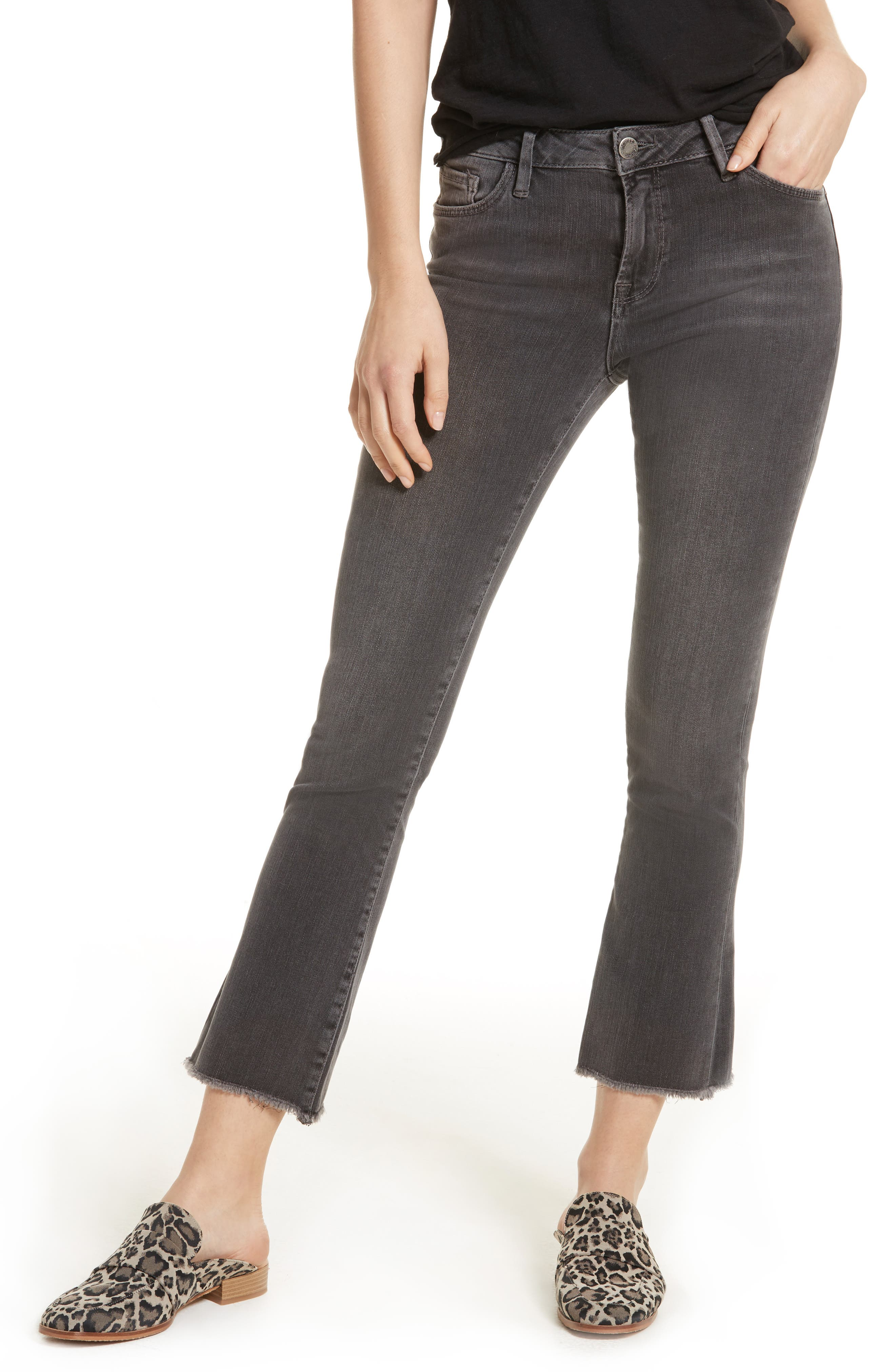 FREE PEOPLE Crop Straight Leg Jeans, Main, color, 001