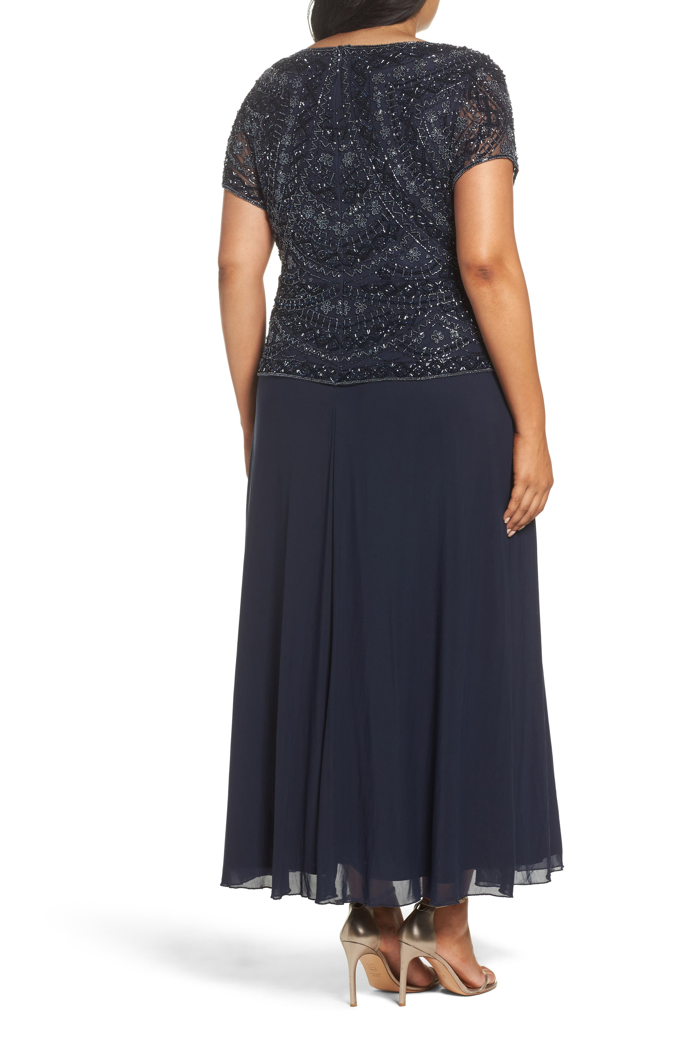 Beaded Mock Two-Piece Gown,                             Alternate thumbnail 2, color,                             NAVY