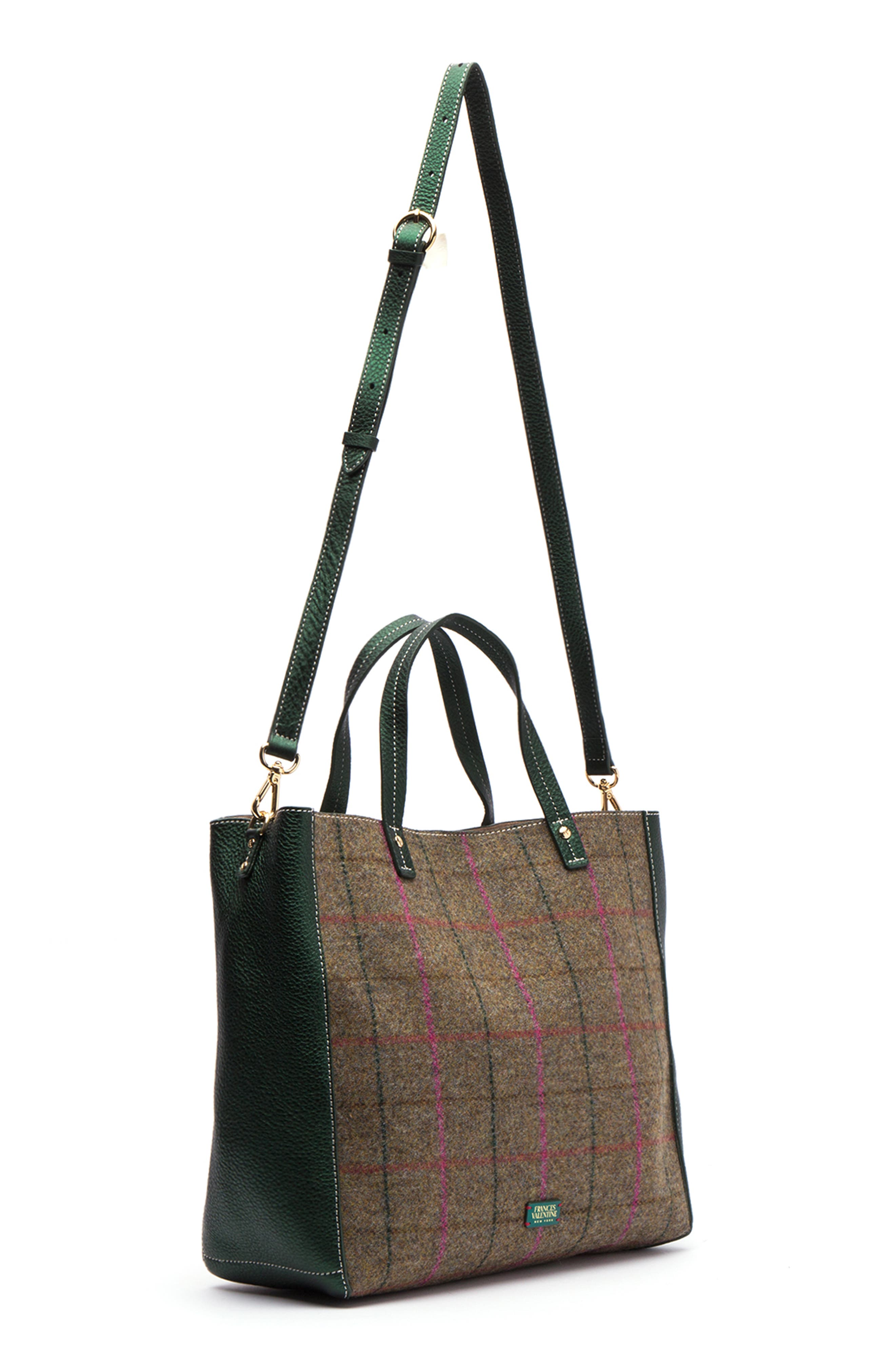 Large Margaret Wool & Leather Tote,                             Alternate thumbnail 4, color,                             EQUESTRIAN PLAID