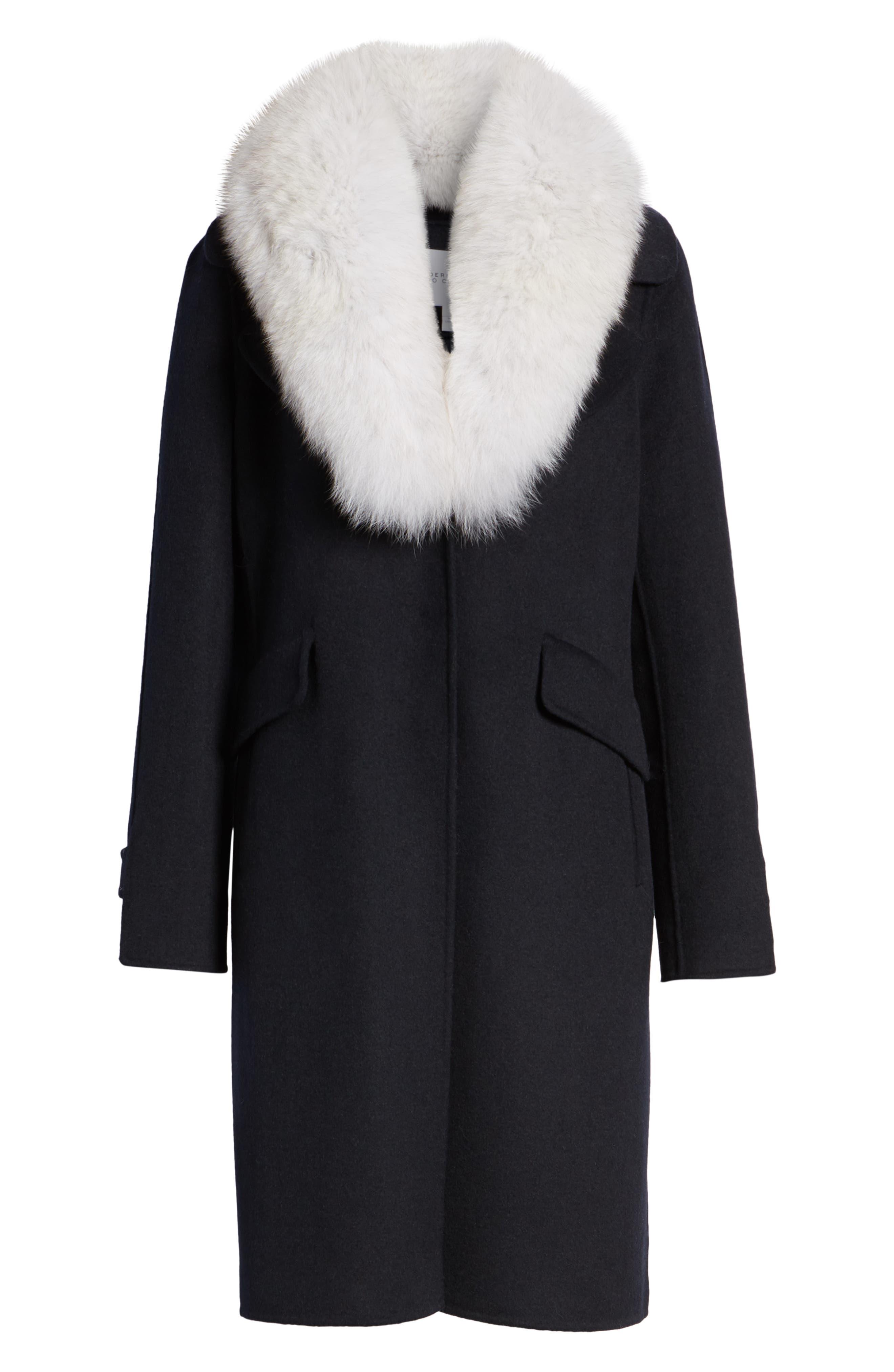 Wool Blend Reefer Coat with Genuine Fox Fur Trim,                             Alternate thumbnail 6, color,                             NAVY
